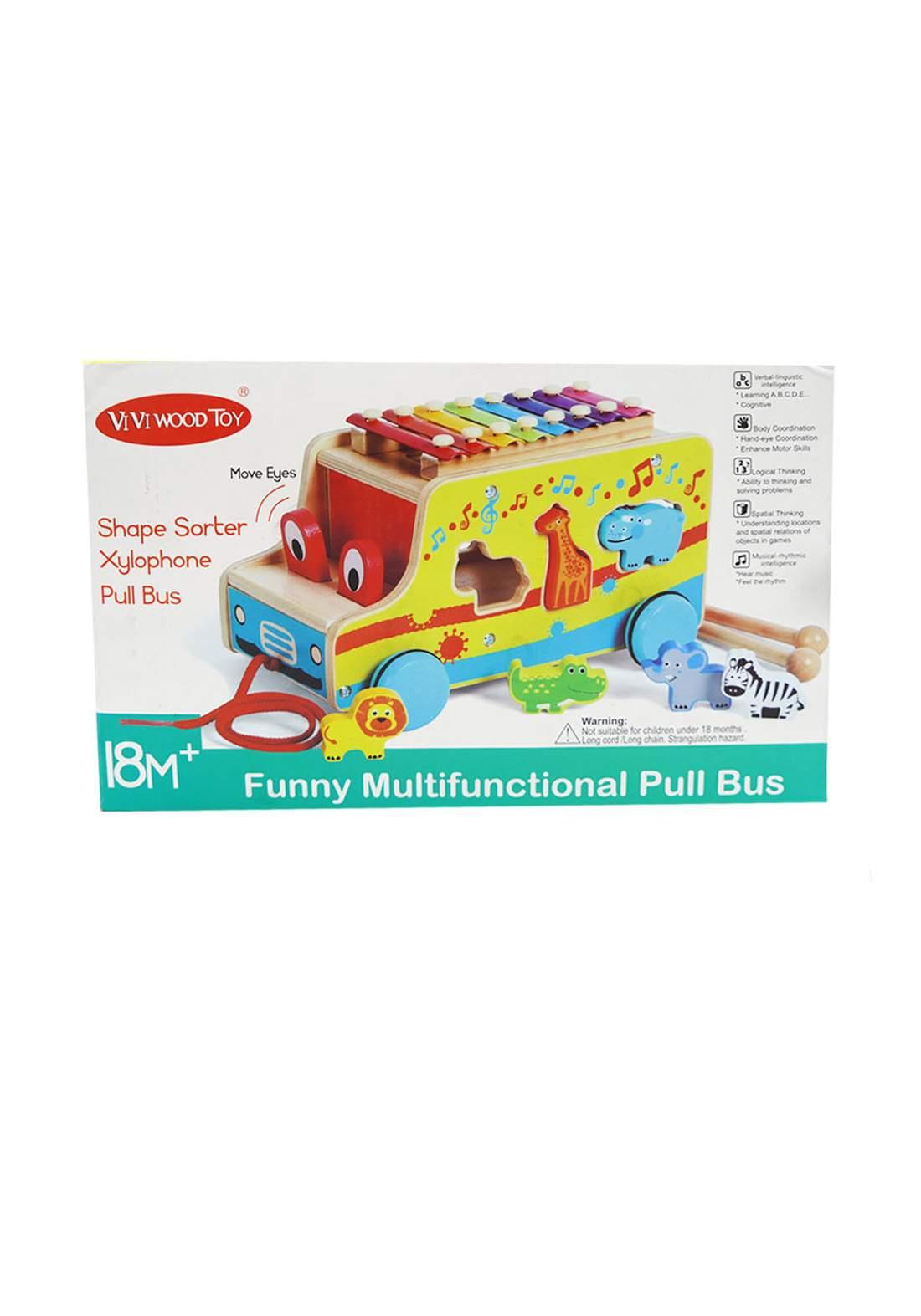 VIVI Wood Toy +18m  الحافلة الموسيقية للأطفال