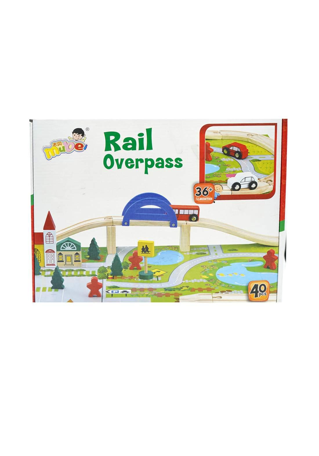Mube Wooden Rail Overpass Train Track Set 40(+36m)  لعبة السيارة  للأطفال