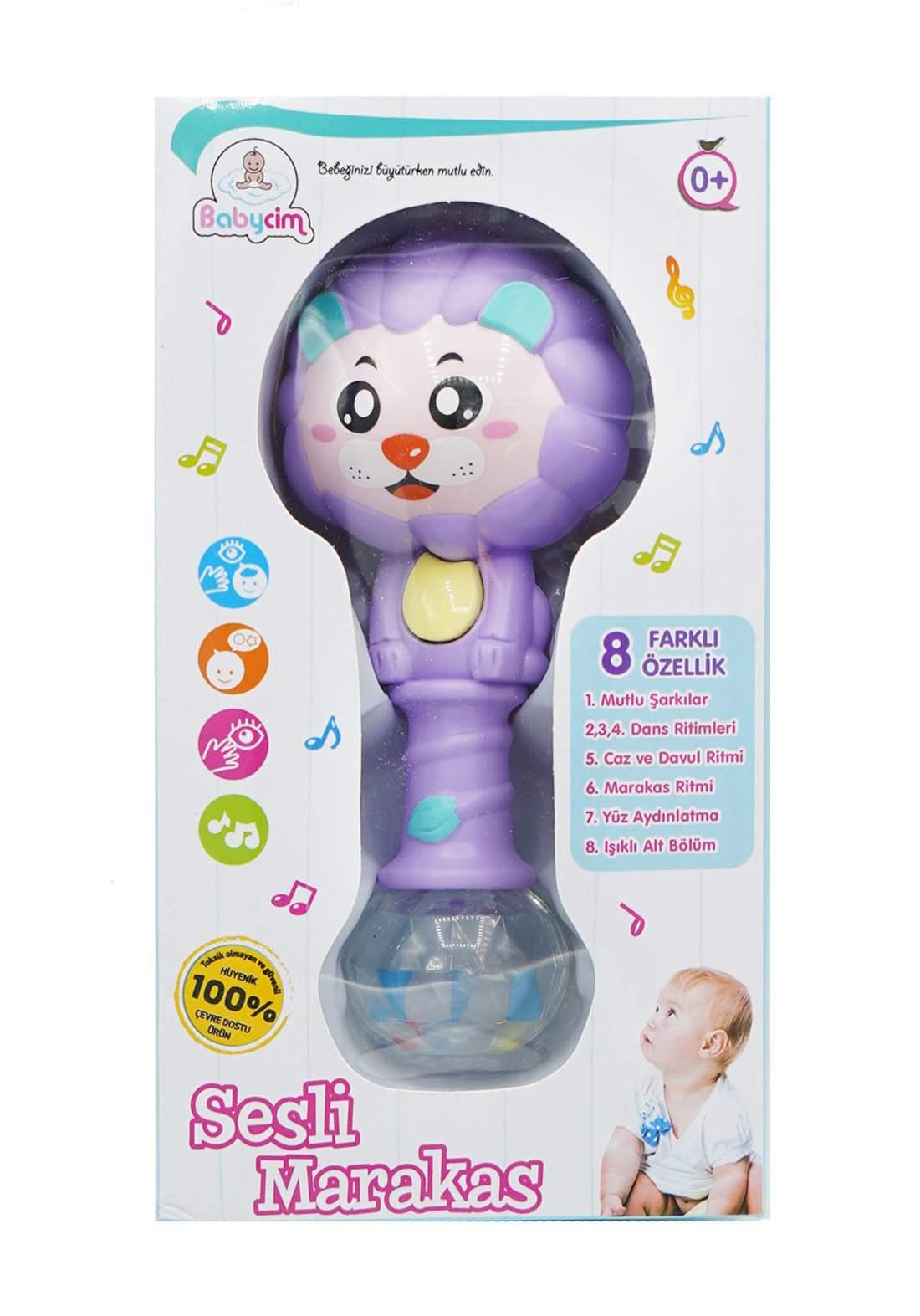 Babycim Battery Lighted Musical Maracas Lion - Purple  لعبة أطفال موسيقية