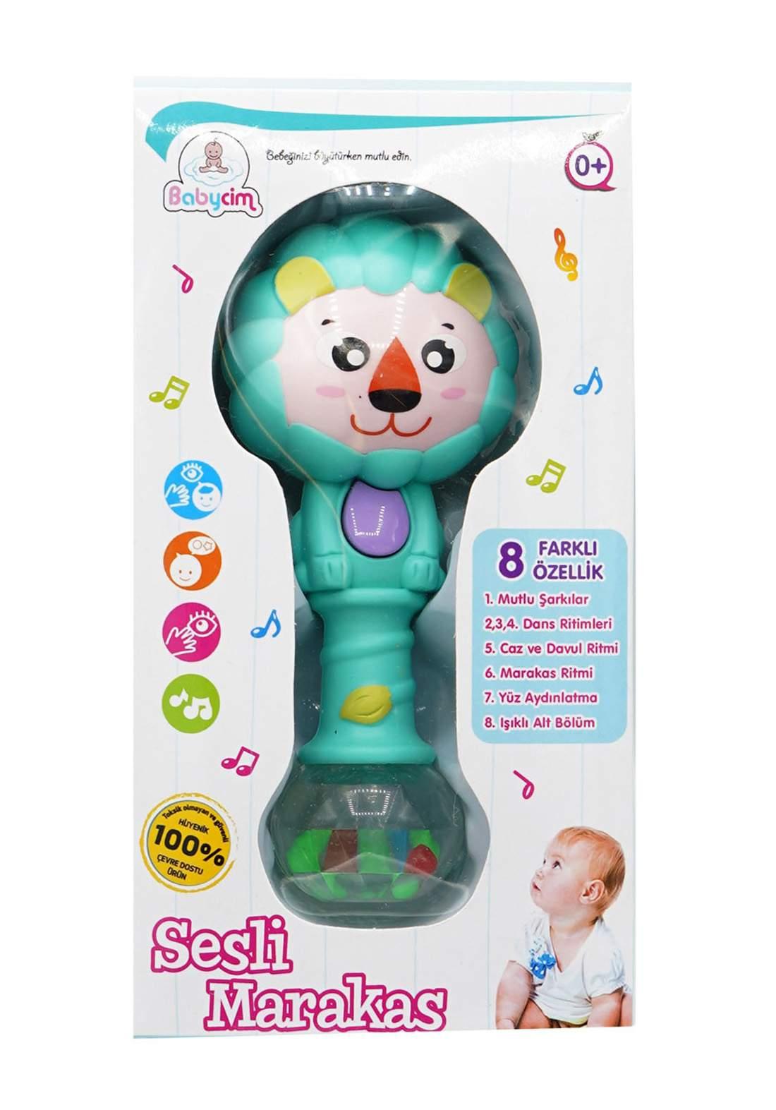 Babycim Battery Lighted Musical Maracas Lion - Green  لعبة أطفال موسيقية