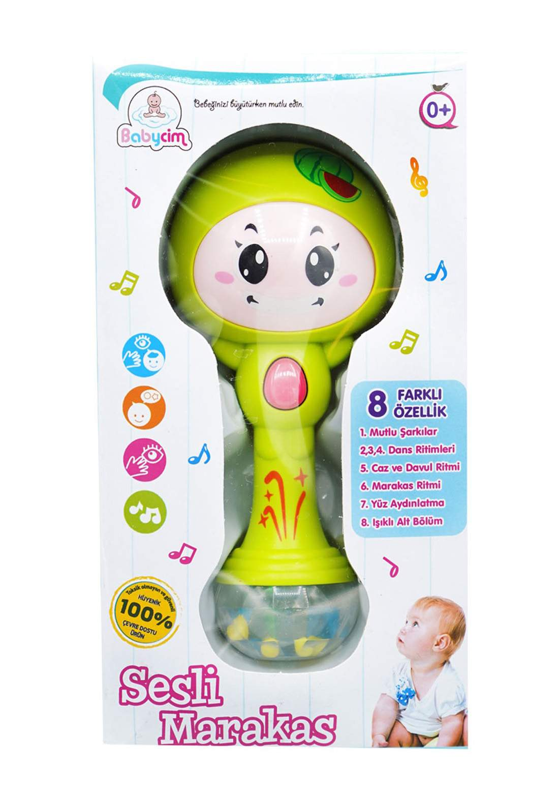 Babycim Battery Lighted Musical Maracas Lion - Yellow  لعبة أطفال موسيقية