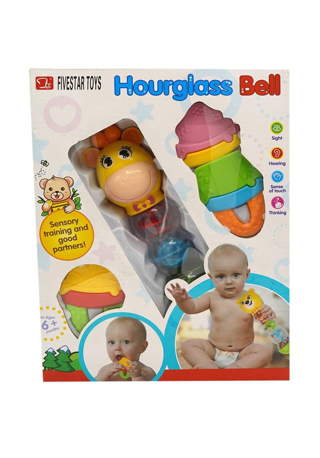 Munchkinz Hour Glass Bell and Teether +6M لعبة أطفال زجاجية مع 3 عضاضات
