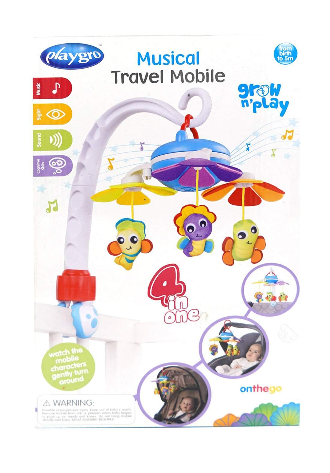 Playgro ( 0-5m) Musical Garden Travel Mobile 4 in 1  لعبة أطفال موسيقية