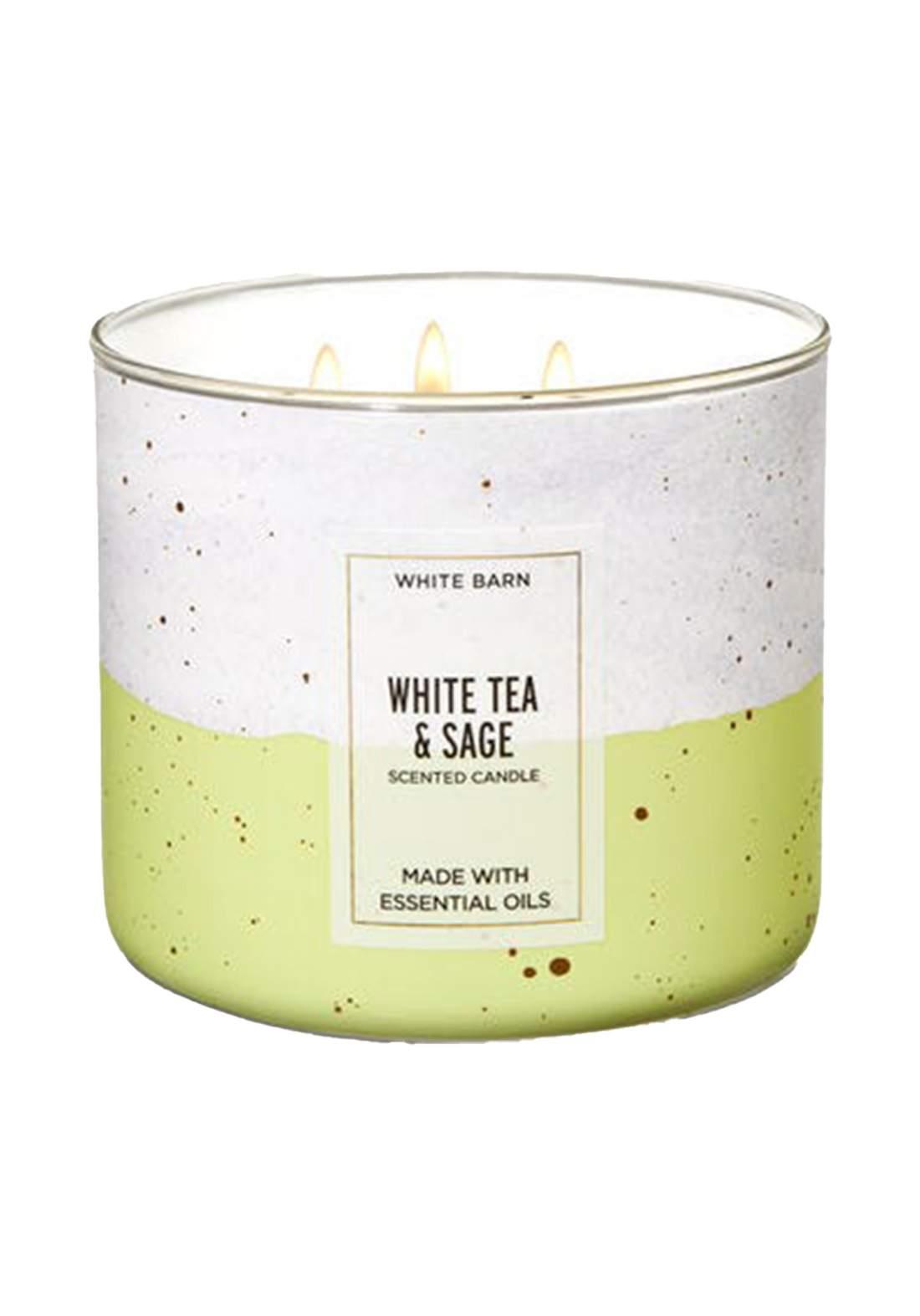 Bath And Body Works White Tea & Sage 3-Wick Candle 411g  شمعة عطرية