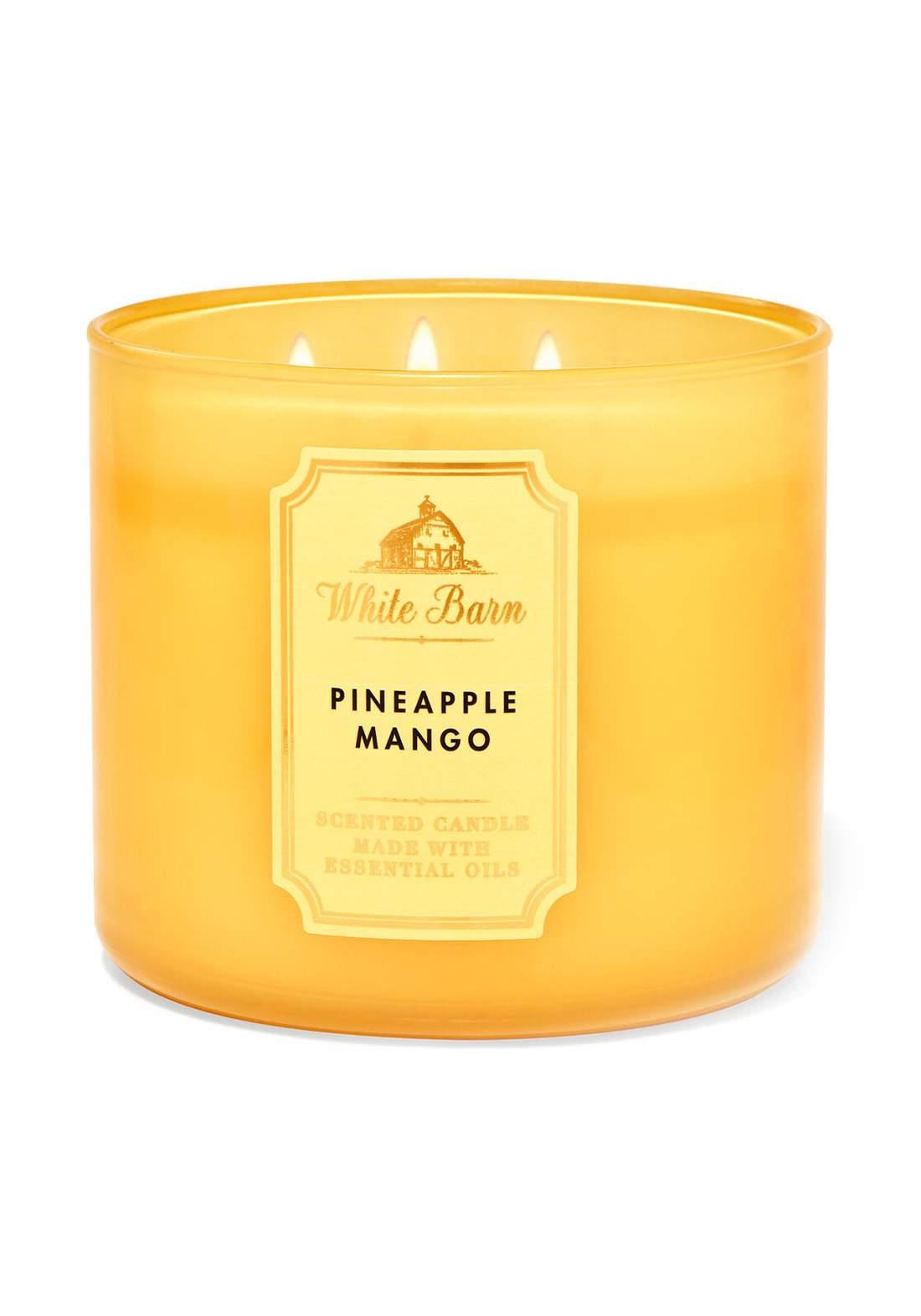Bath And Body Works White Barn Pineapple Mango 3-Wick Candle 411g  شمعة عطرية