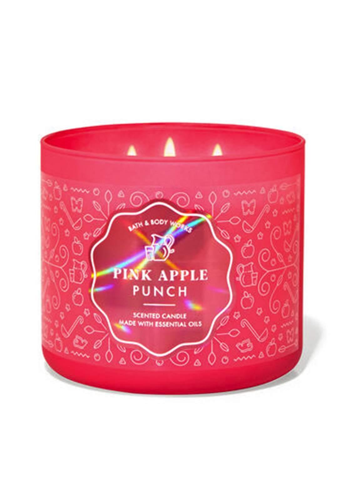 Bath & Body Works Pink Apple Punch 3-Wick Candle 411gm شمعة معطرة
