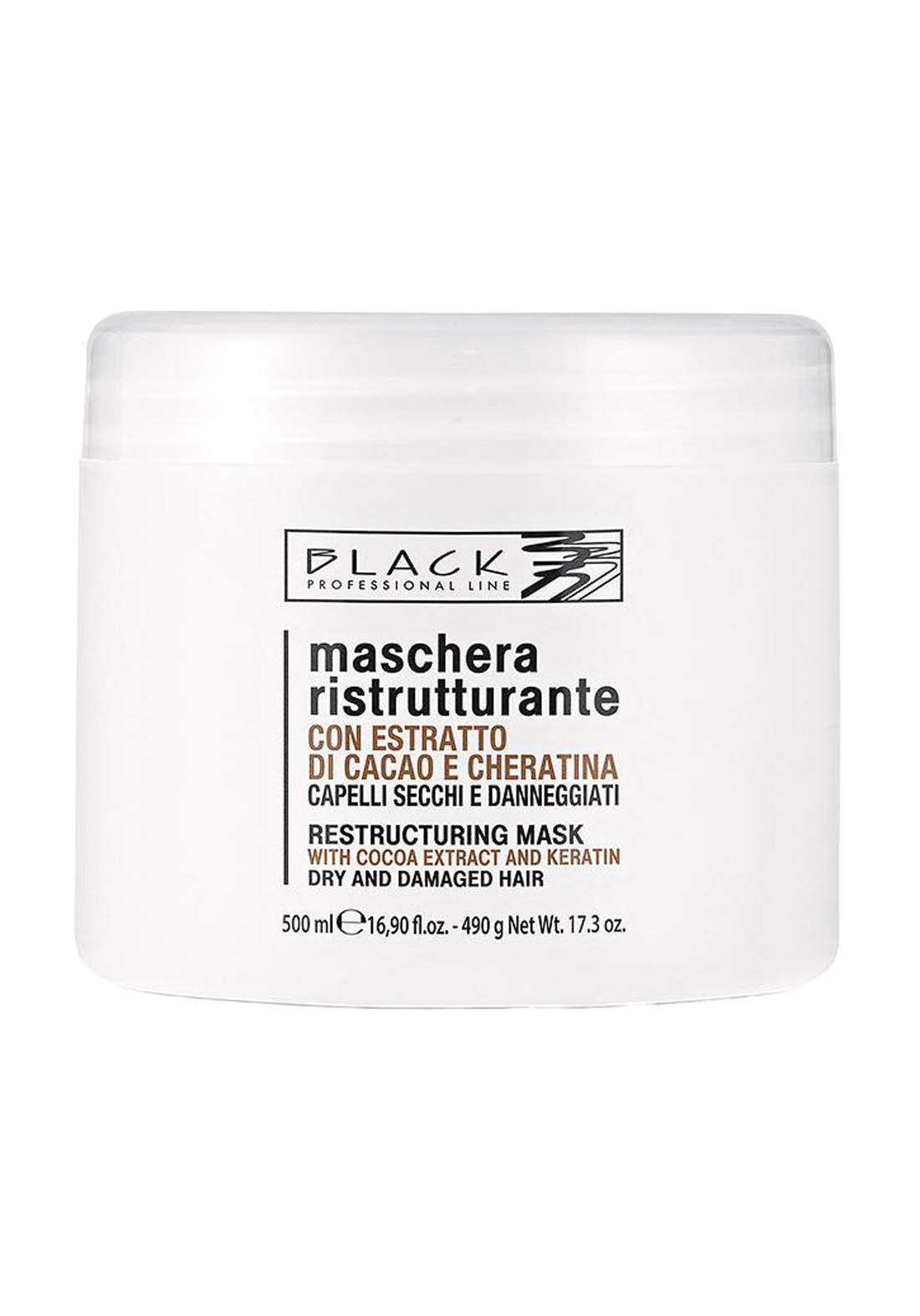 Black Professional Hair Mask With Cocoa And Keratin 500ml معالج للشعر