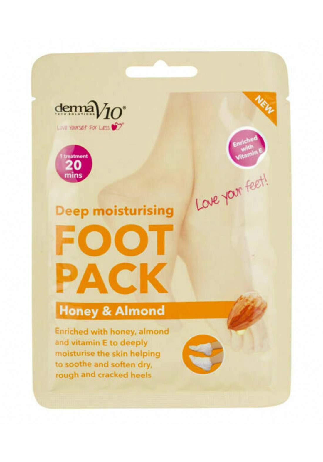 Derma V10 (17924ha)  Deep Moisturising Foot Pack - Honey & Almond قناع للقدمين
