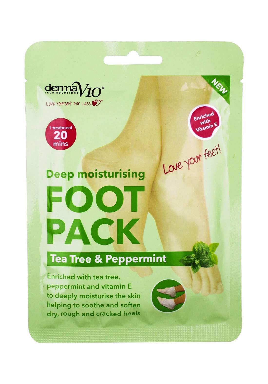 Derma V10 (17605ttp) Deep Moisturising Foot Pack -Tea Tree & Peppermint قناع للقدمين