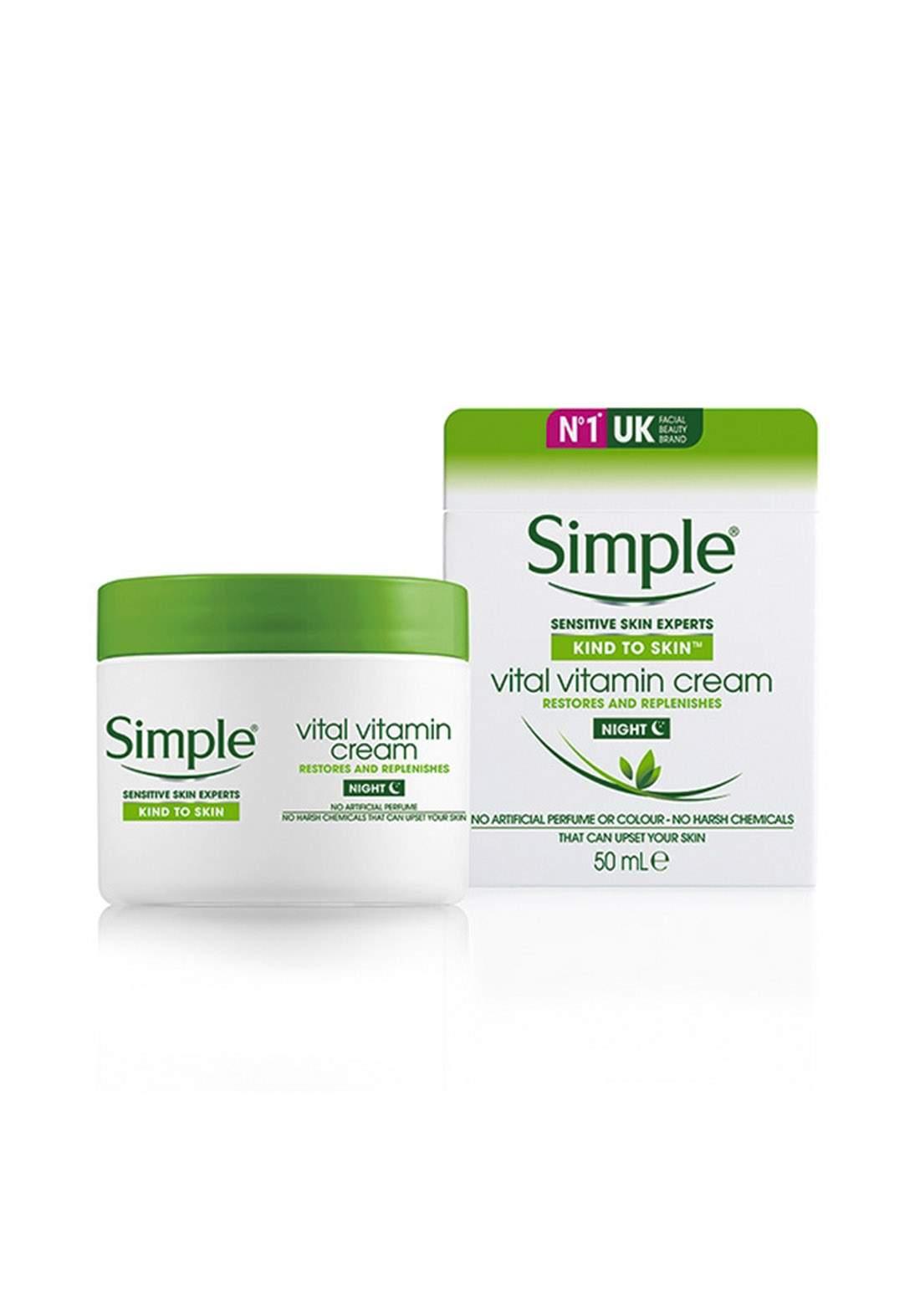 Simple (719321b) Kind To Skin Vital Vitamin Night Cream 50ml كريم ليلي