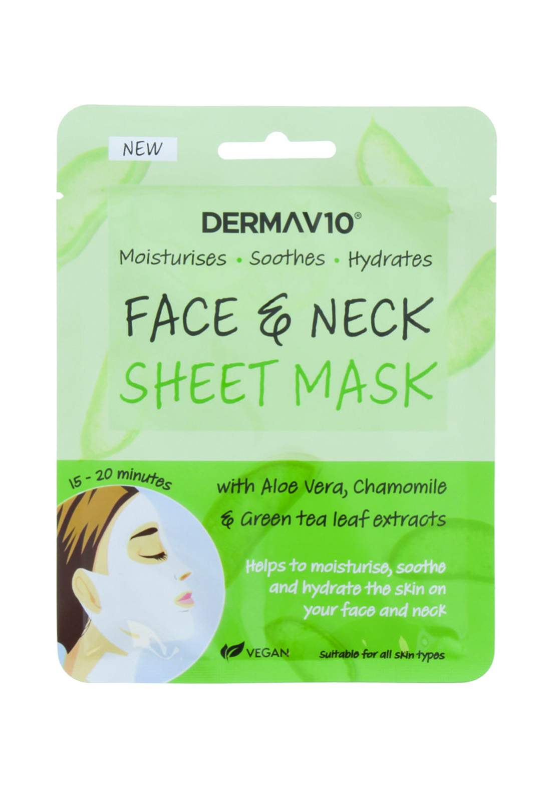 Dermav10 (17847fnav) Aloe Vera Chamomile Face & Neck Sheet Mask ماسك ورقي