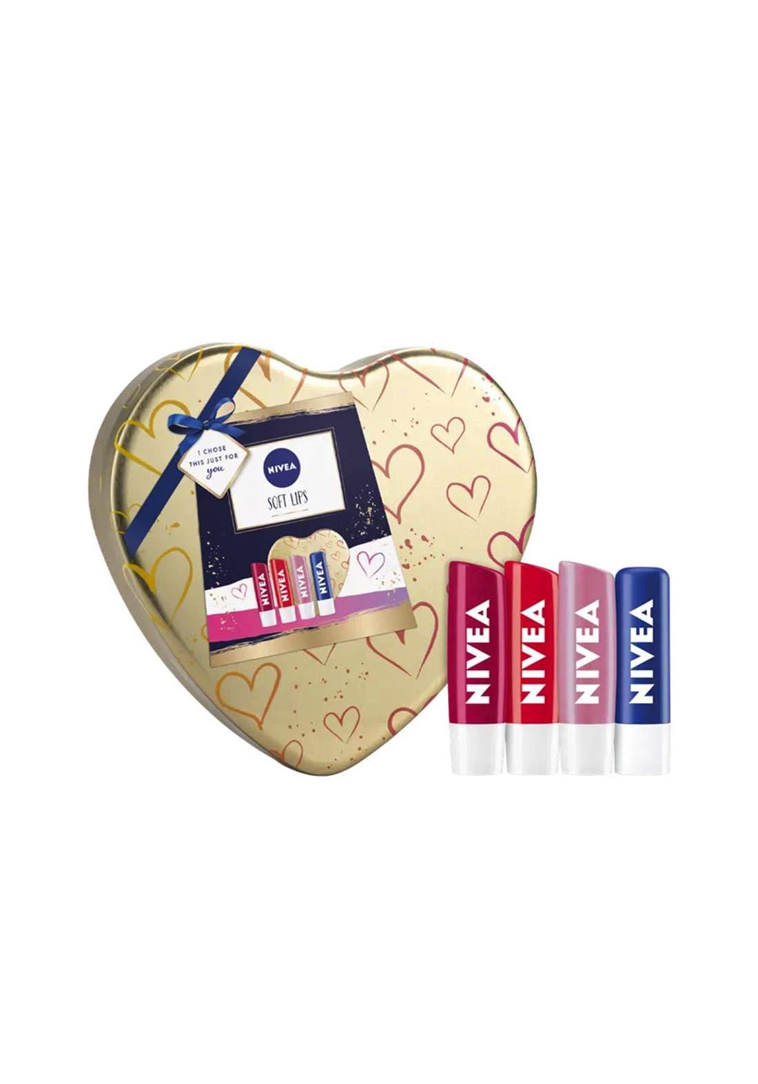 Nivea (02844724f8) Soft Lips 4pc Lip Balm Gift Set مجموعة مرطب الشفاه