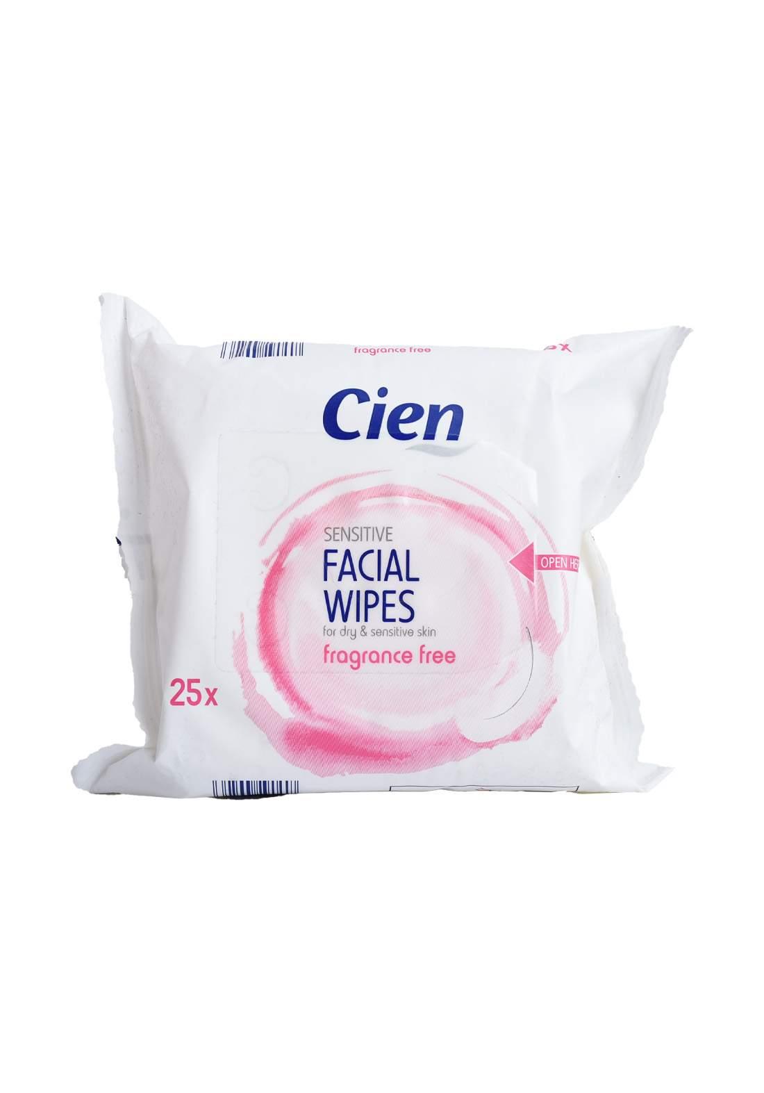 Cien Sensitive Facial Wipes for Sensitive and Dry Skin مناديل تنظيف الوجه
