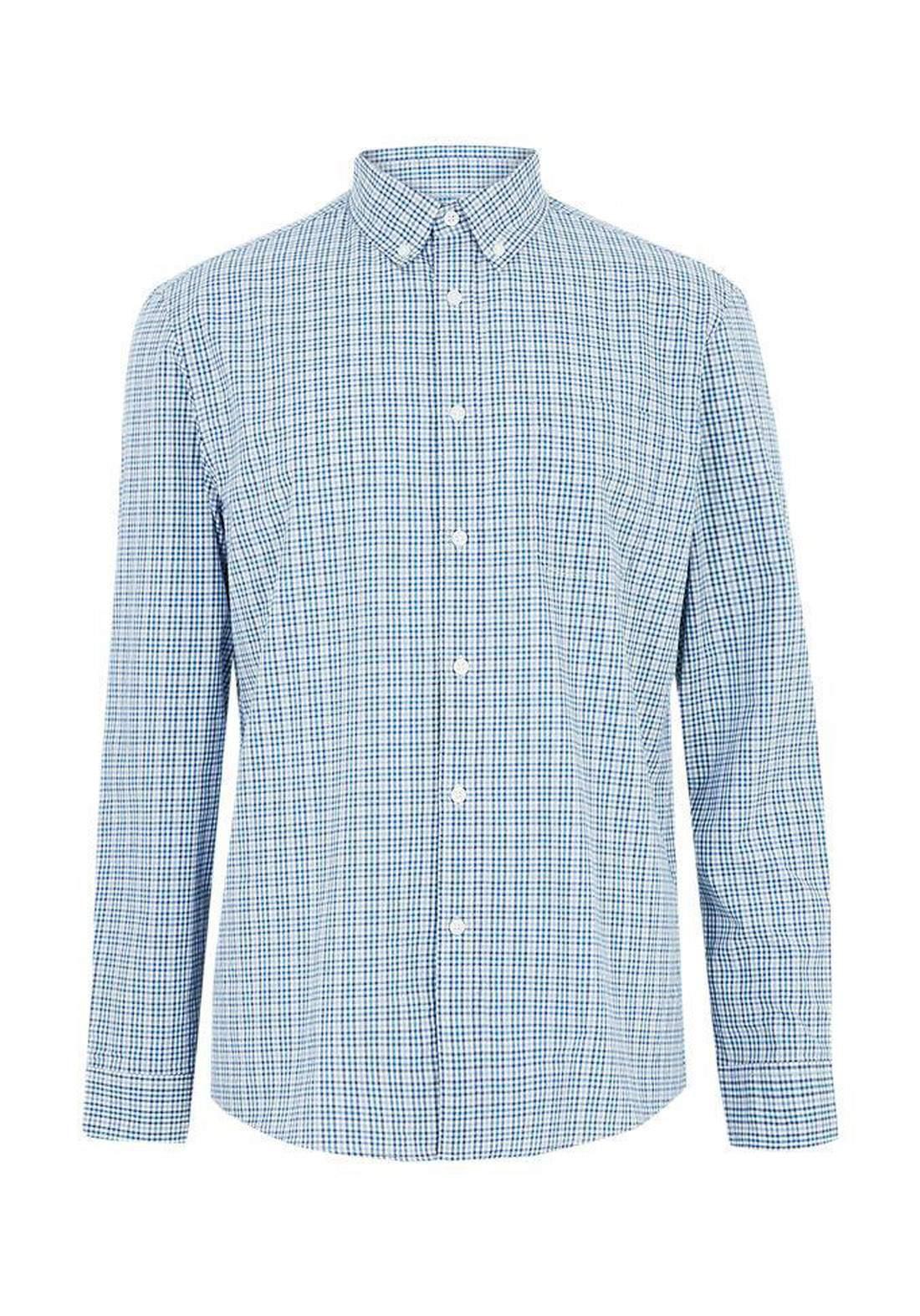 قميص رجالي بأكمام طويلة سمائي اللون من Marks and Spenser