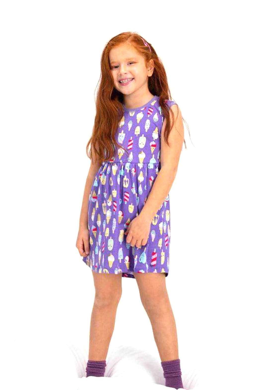 فستان بناتي بنفسجي اللون