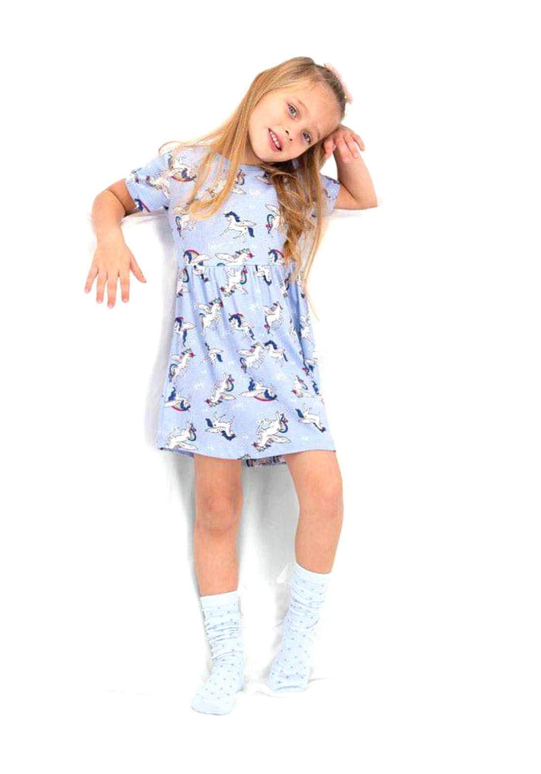 فستان بناتي سمائي اللون