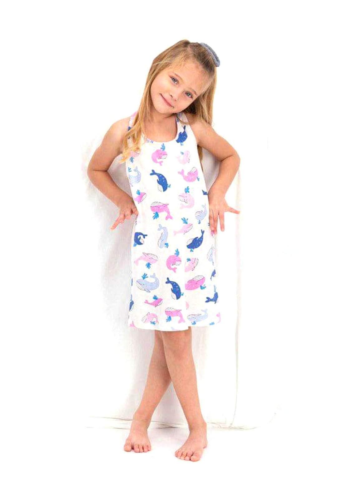 فستان بناتي ابيض اللون