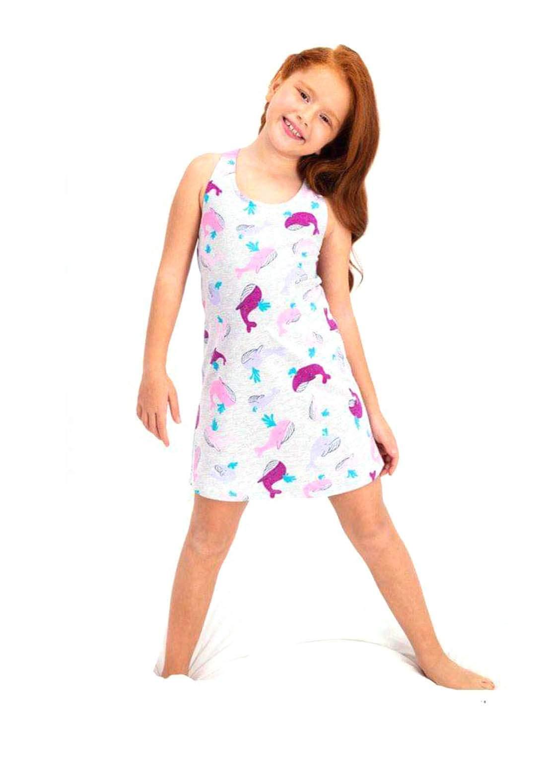 فستان بناتي رصاصي اللون
