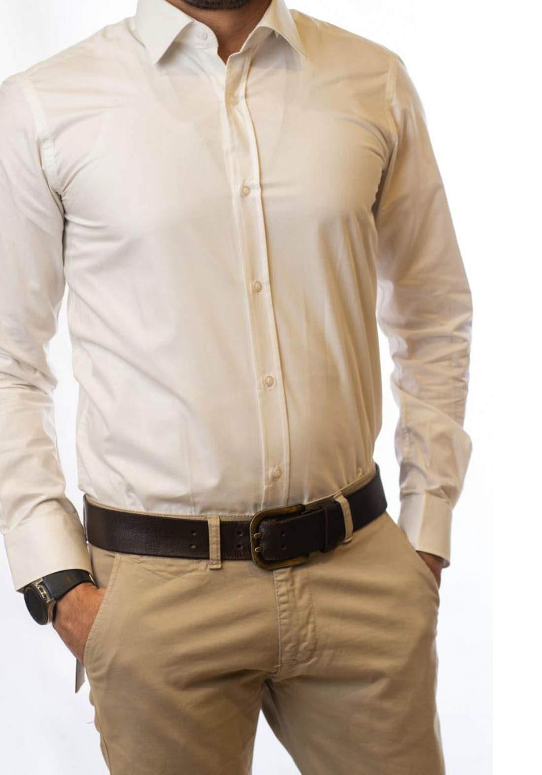 قميص رجالي بأكمام طويلة بلون اوف وايت