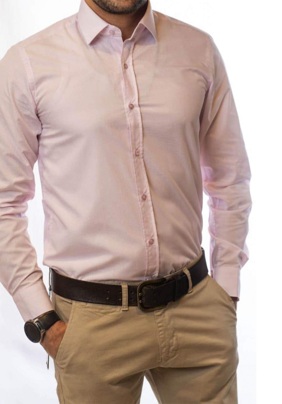 قميص رجالي بأكمام طويلة وردي اللون