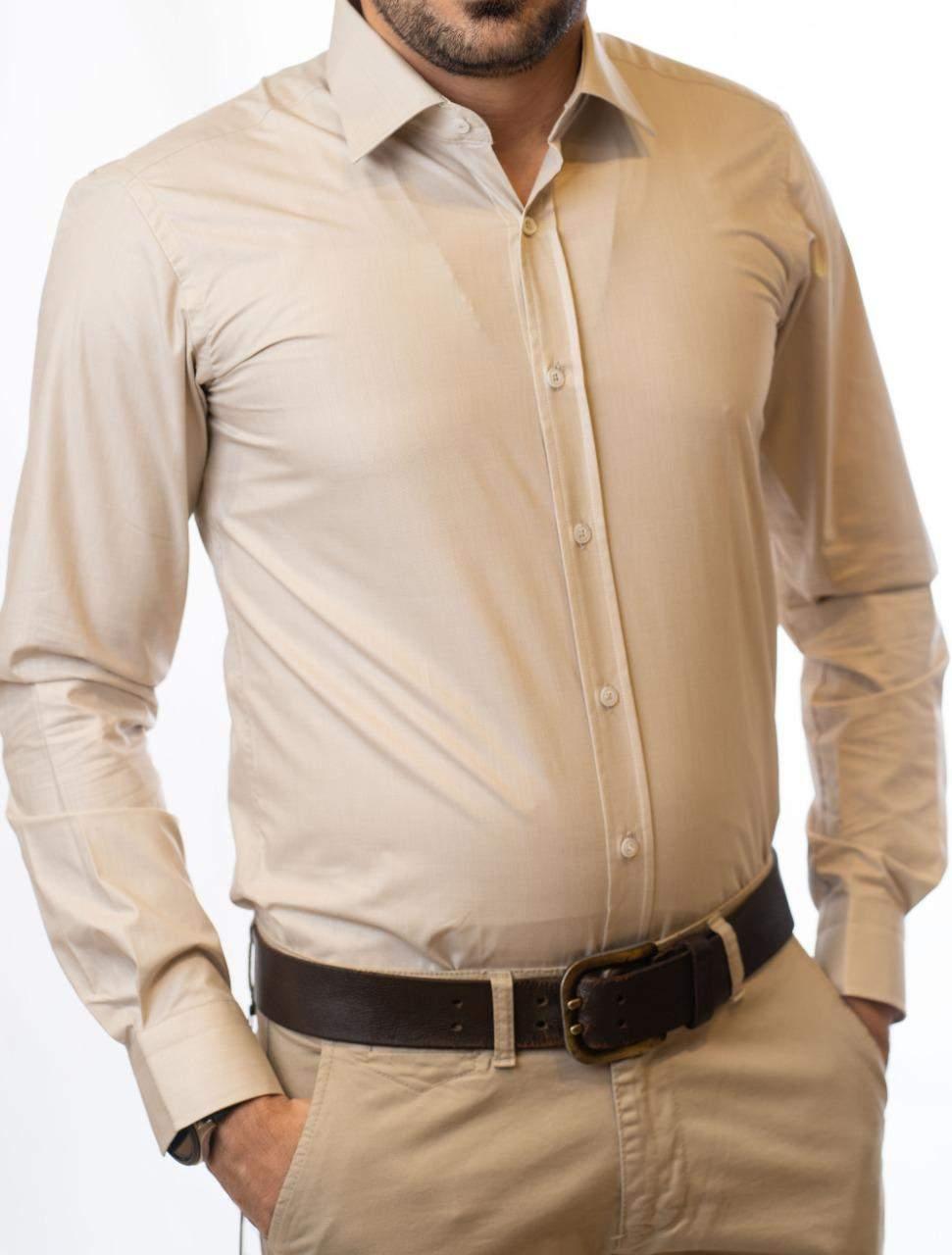 قميص رجالي بأكمام طويلة بيجي اللون