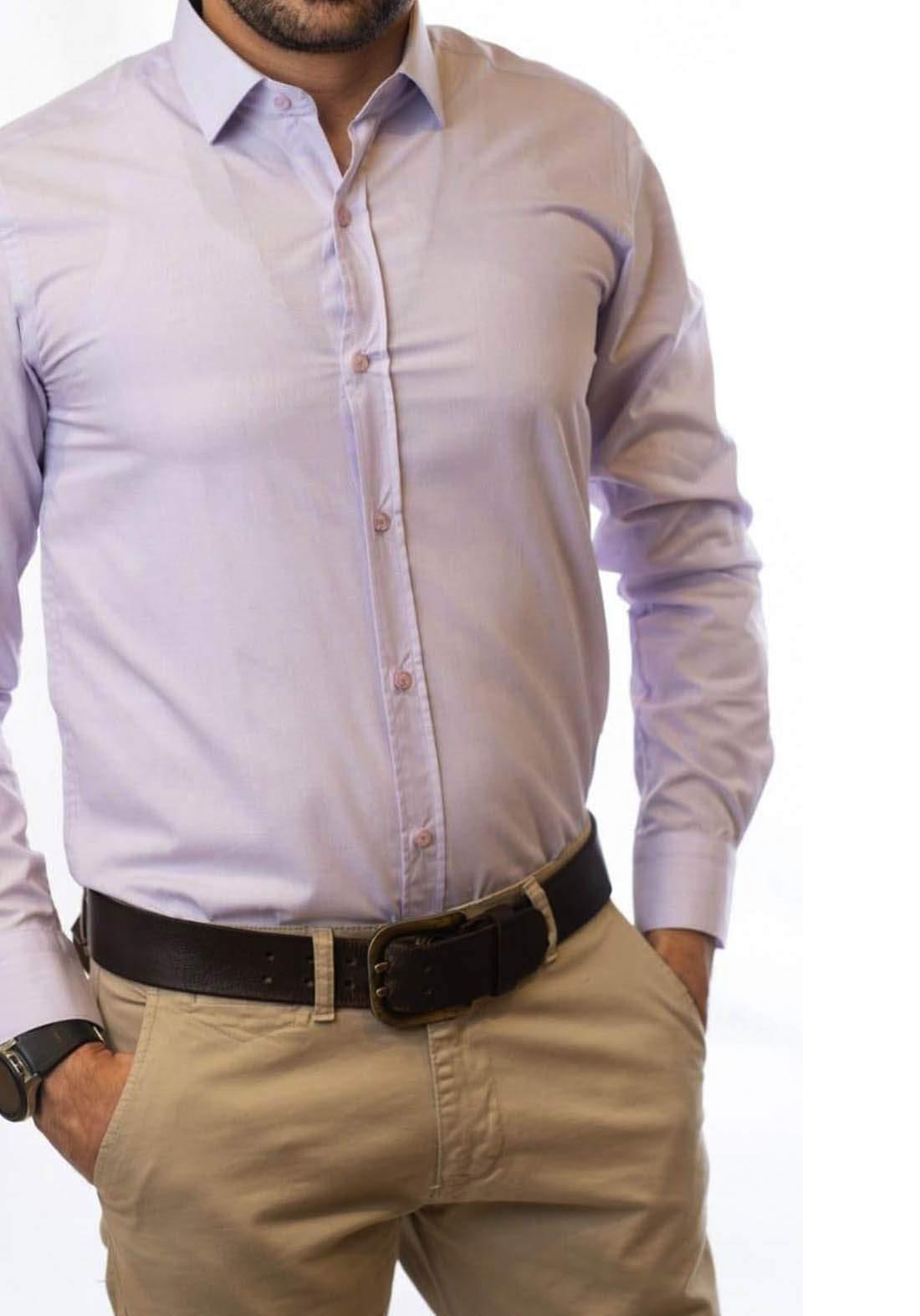 قميص رجالي بأكمام طويلة بنفسجي اللون