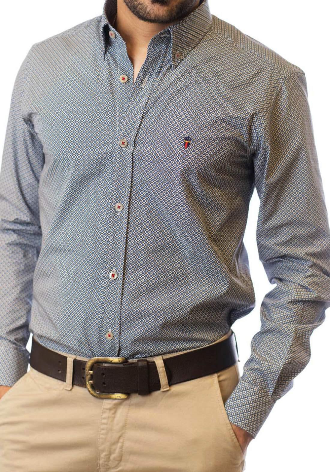 قميص رجالي بأكمام طويلة رصاصي فاتح اللون