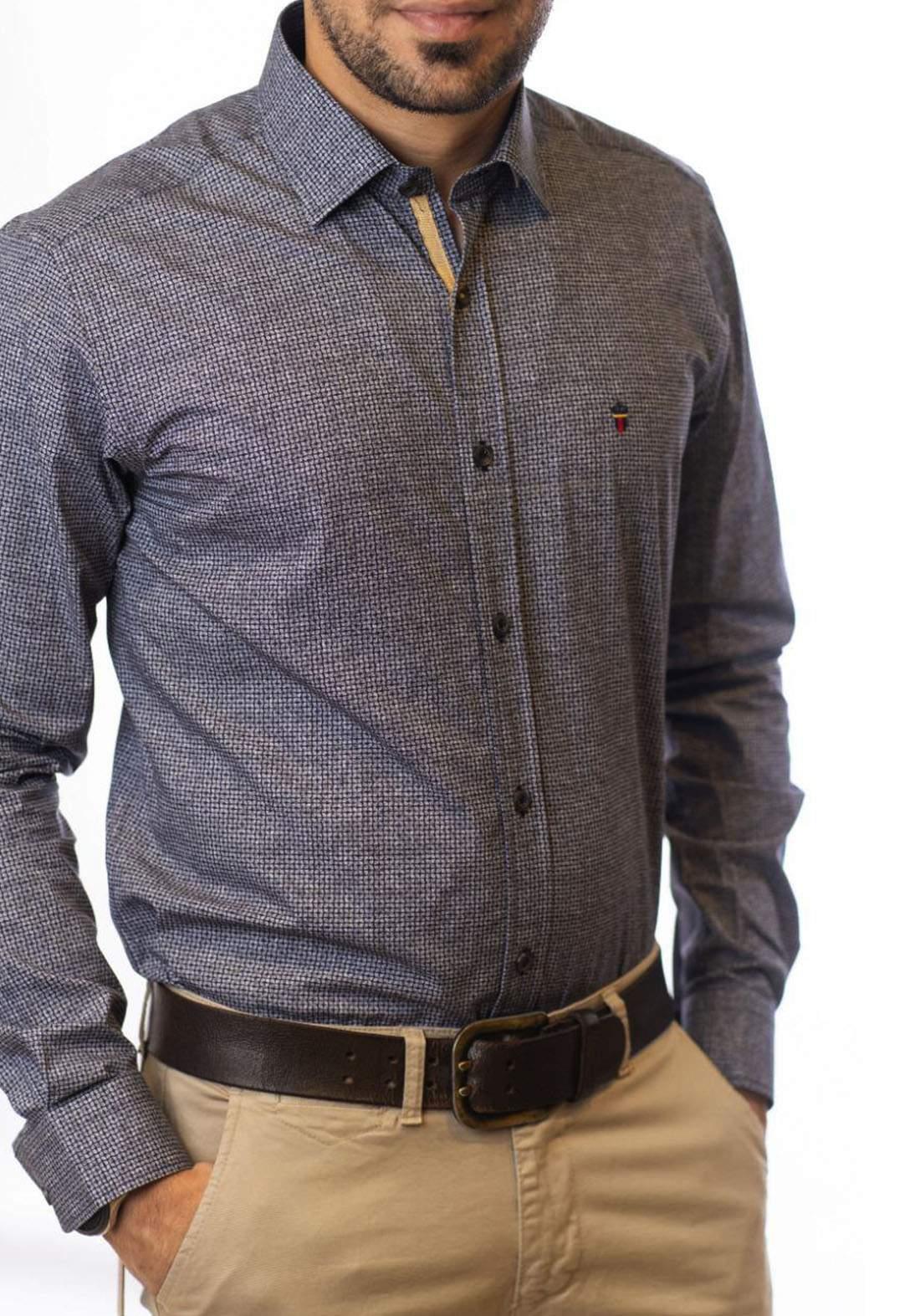 قميص رجالي بأكمام طويلة رصاصي اللون