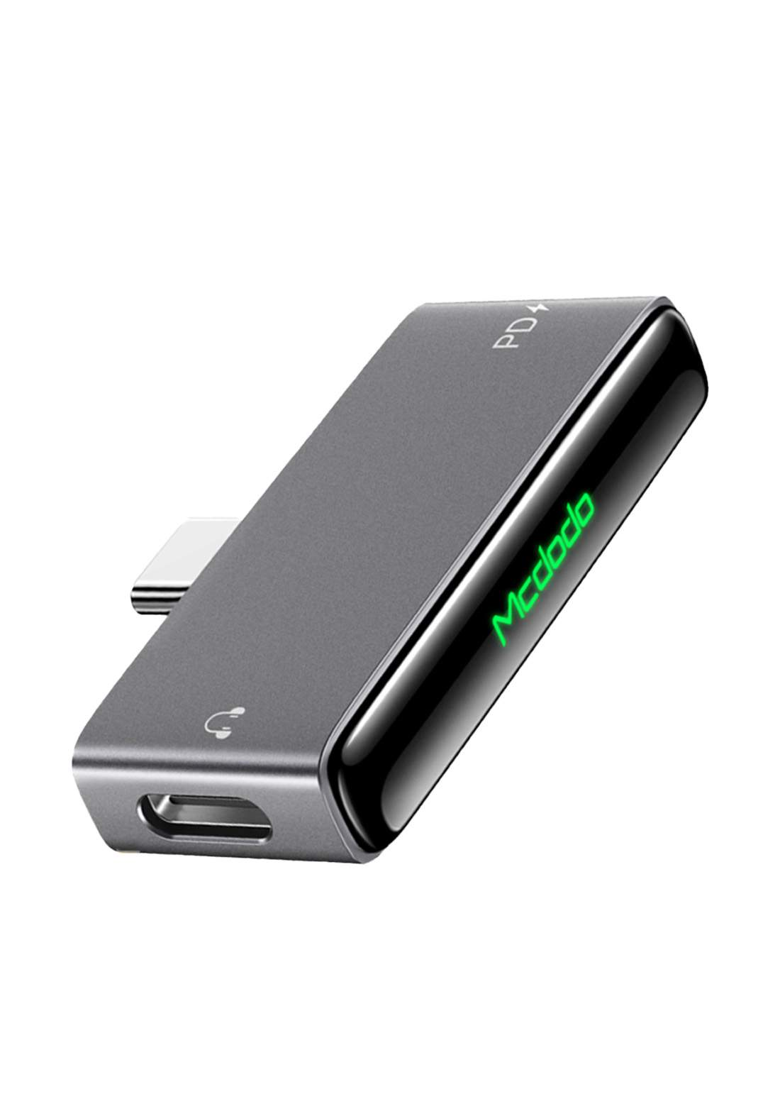 Mcdodo Type C Audio Adapter Dual Type-C 60w Audio Charging Adapter- Black