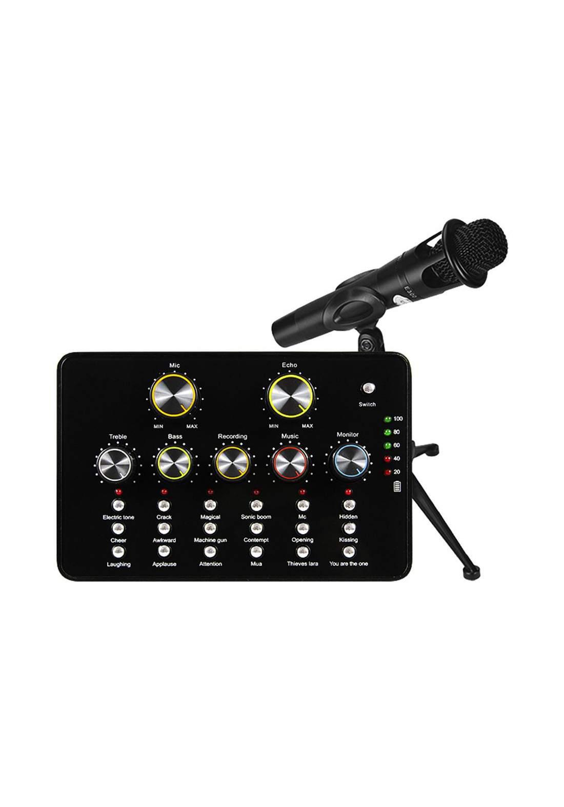 Miss-an Sound Card and Microphone V10 USB Audio  Portable -Black مايكروفون وكارت صوت