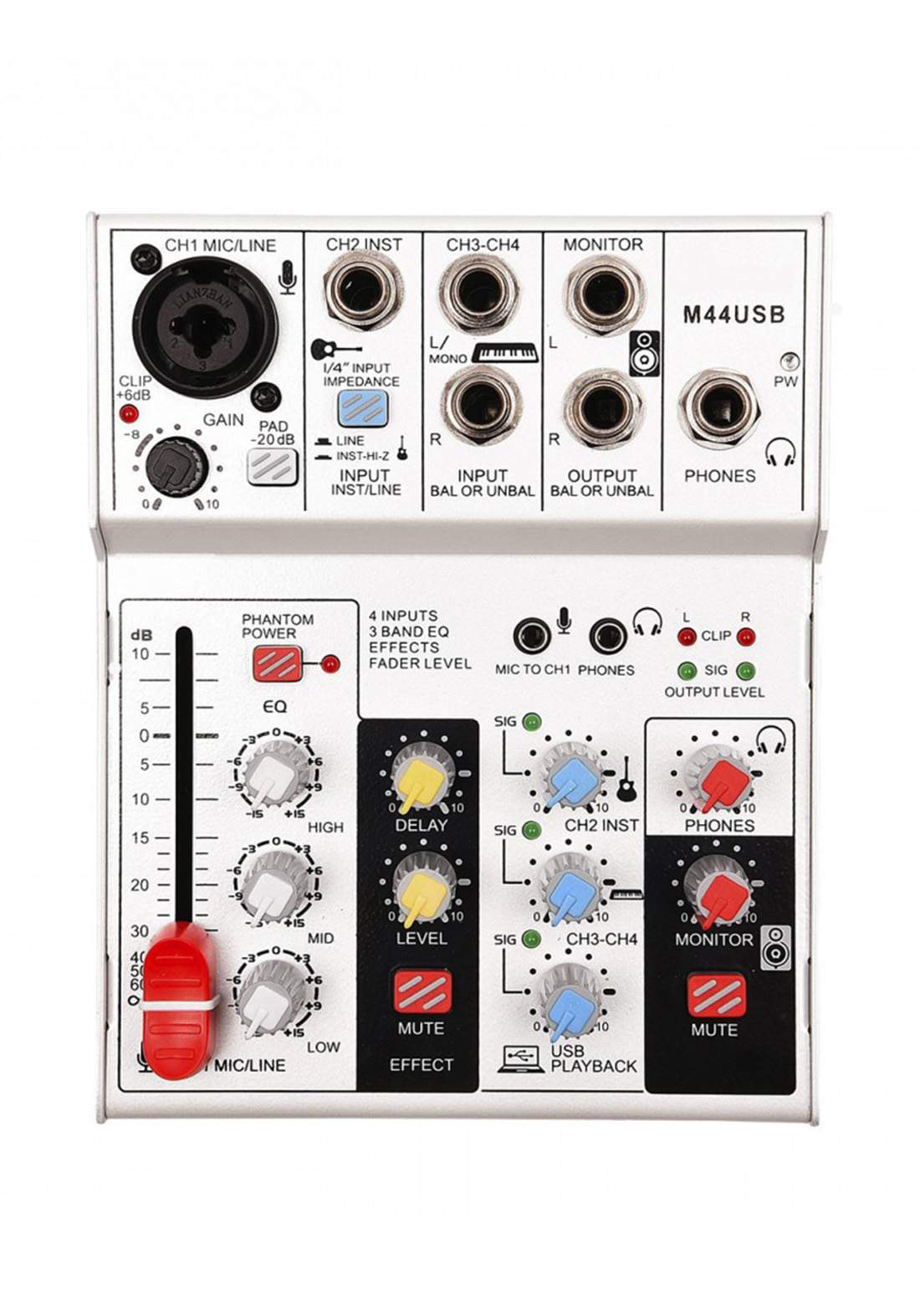 N-audio M44 Mixer and USB Audio Interface-White