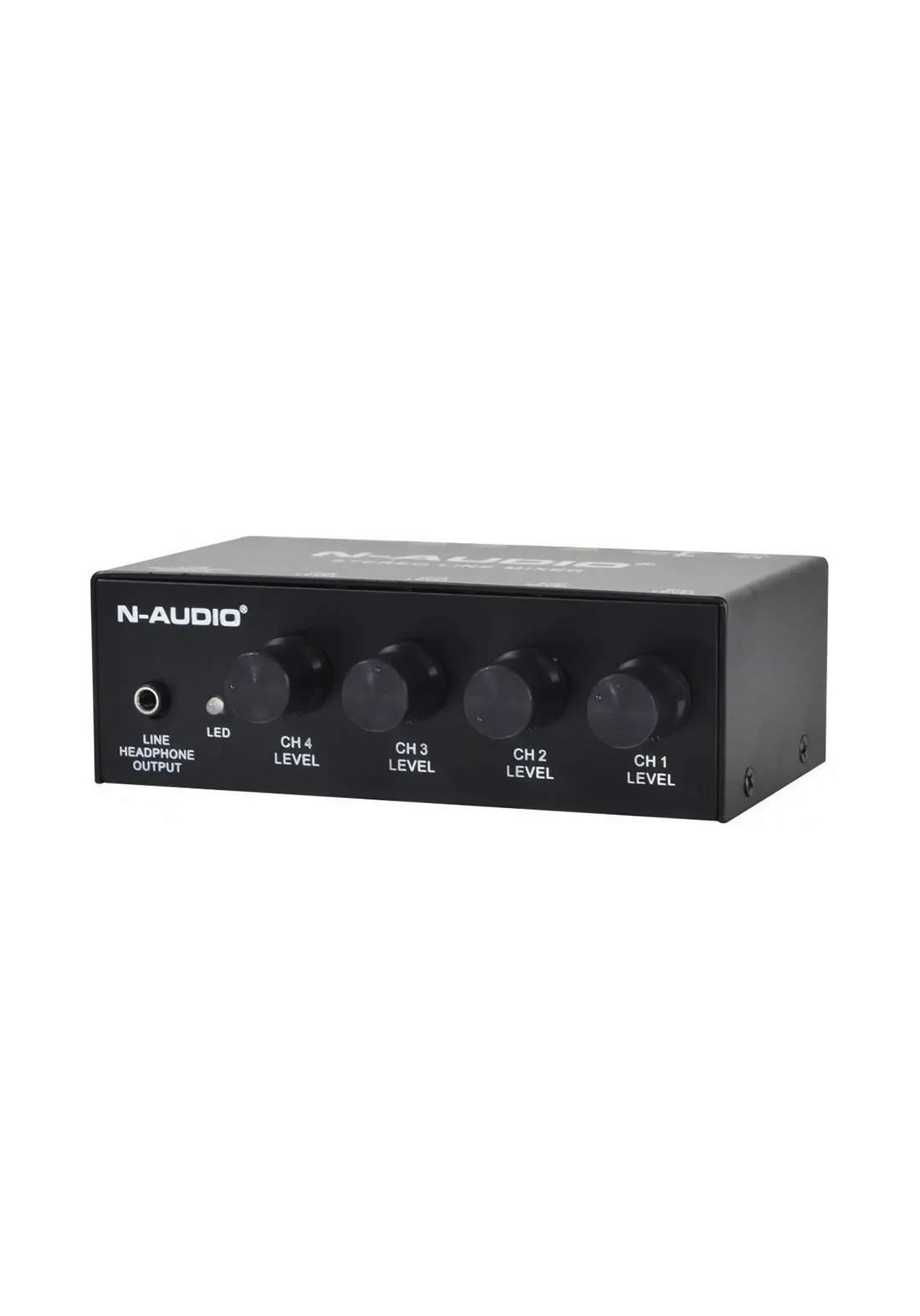 Mixer N-audio Mx500 3 Canales Stereo Rca 1 Xlr Phantom-Black