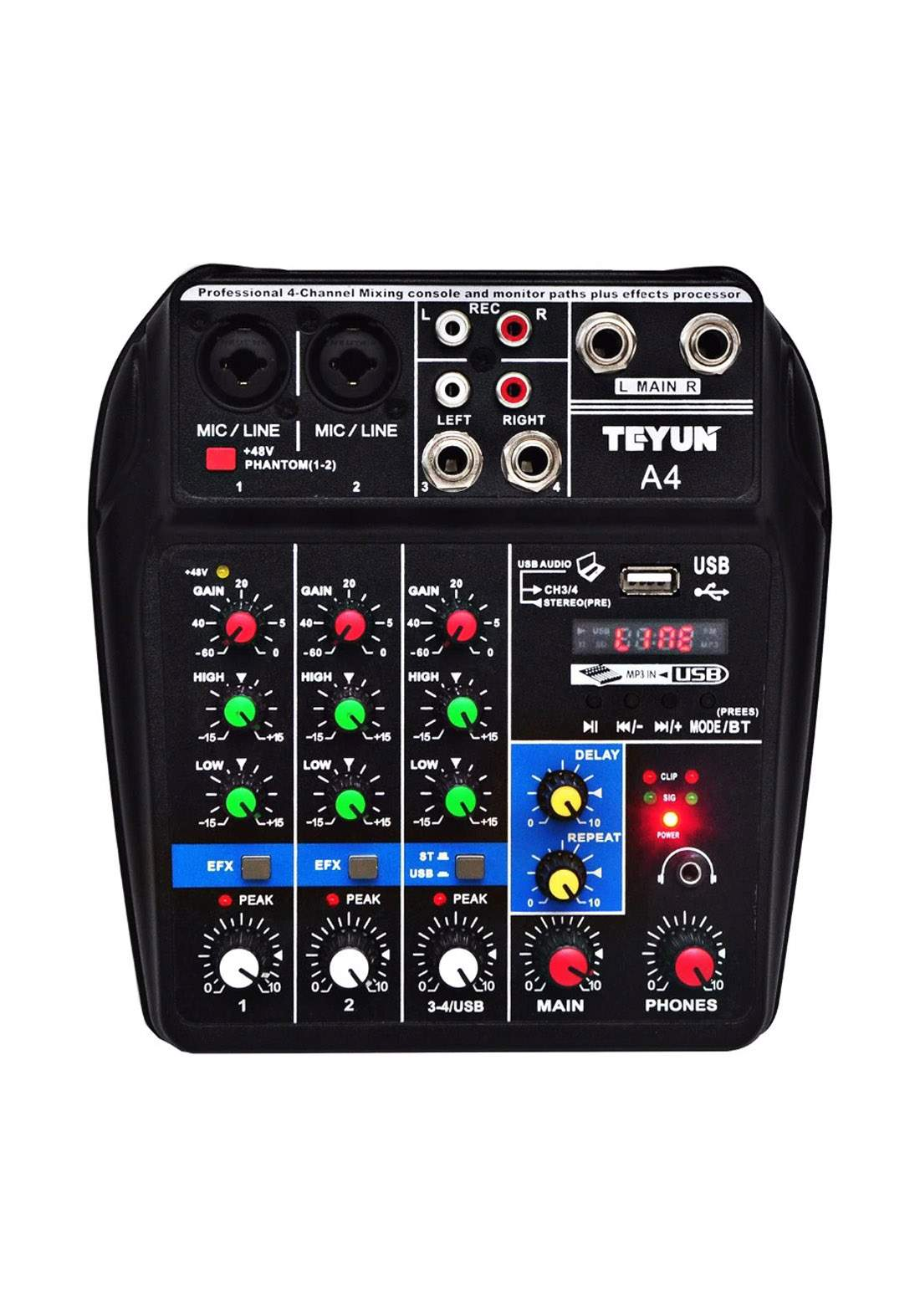 Trusiner A4-Channel Sound Mixing Console with Bluetooth USB Record - Black