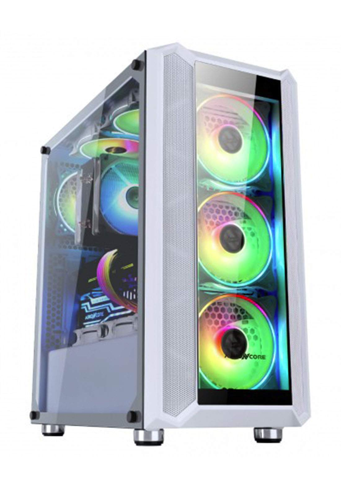 Abkoncore H301G White Rgb MID Tower Case - White  كيس حاسبة
