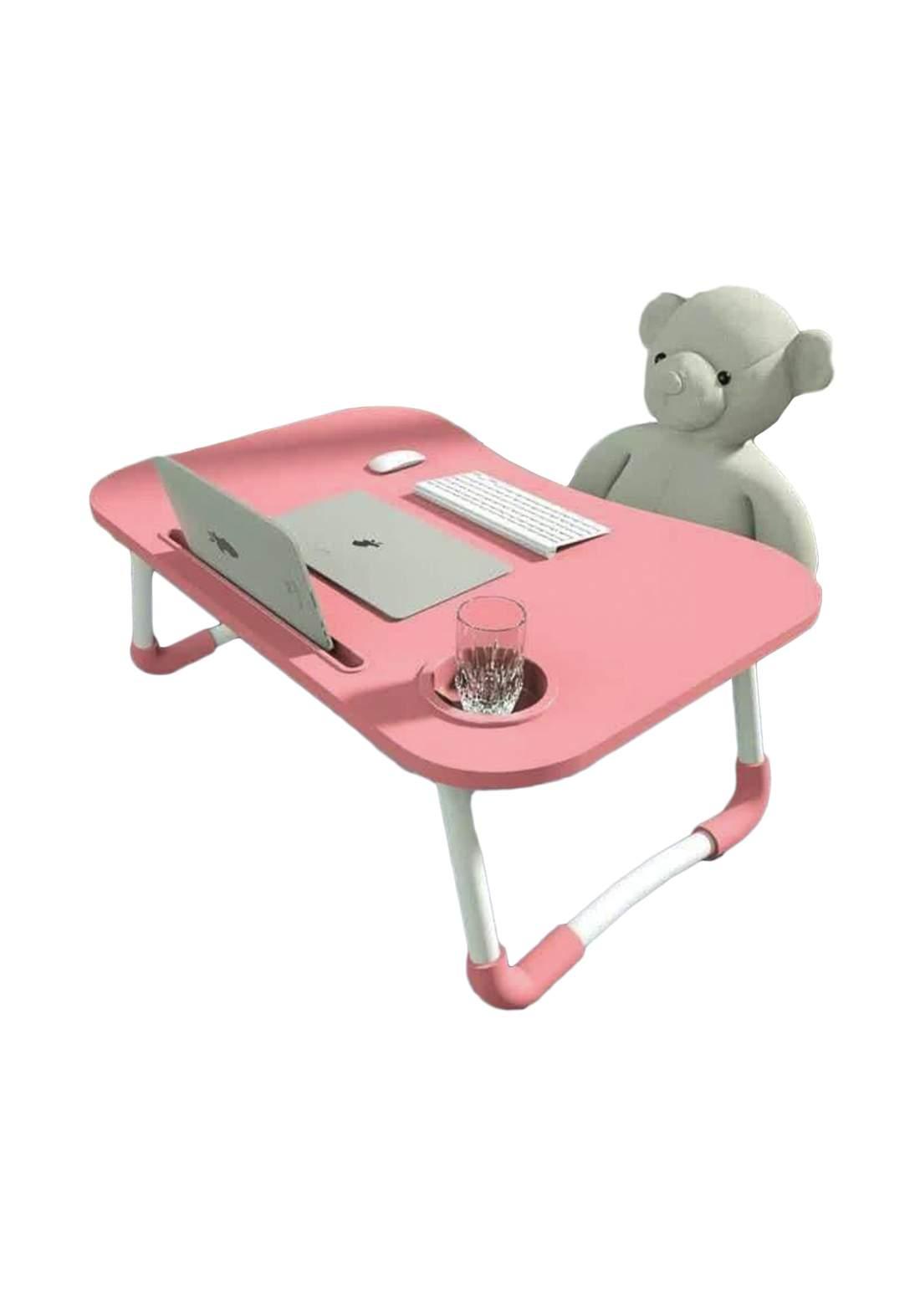 laptop Table Of Wood - Pink  طاولة لابتوب