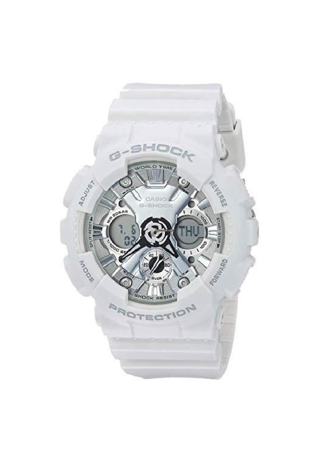 ساعة نسائية رياضية Casio GMA-S120MF-7A1DR بيضاء اللون
