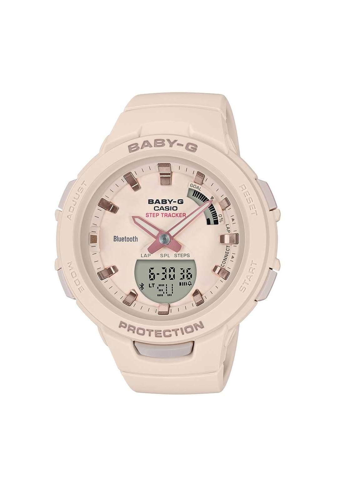 ساعة نسائية رياضية Casio BSA-B100-4A1DR وردية اللون