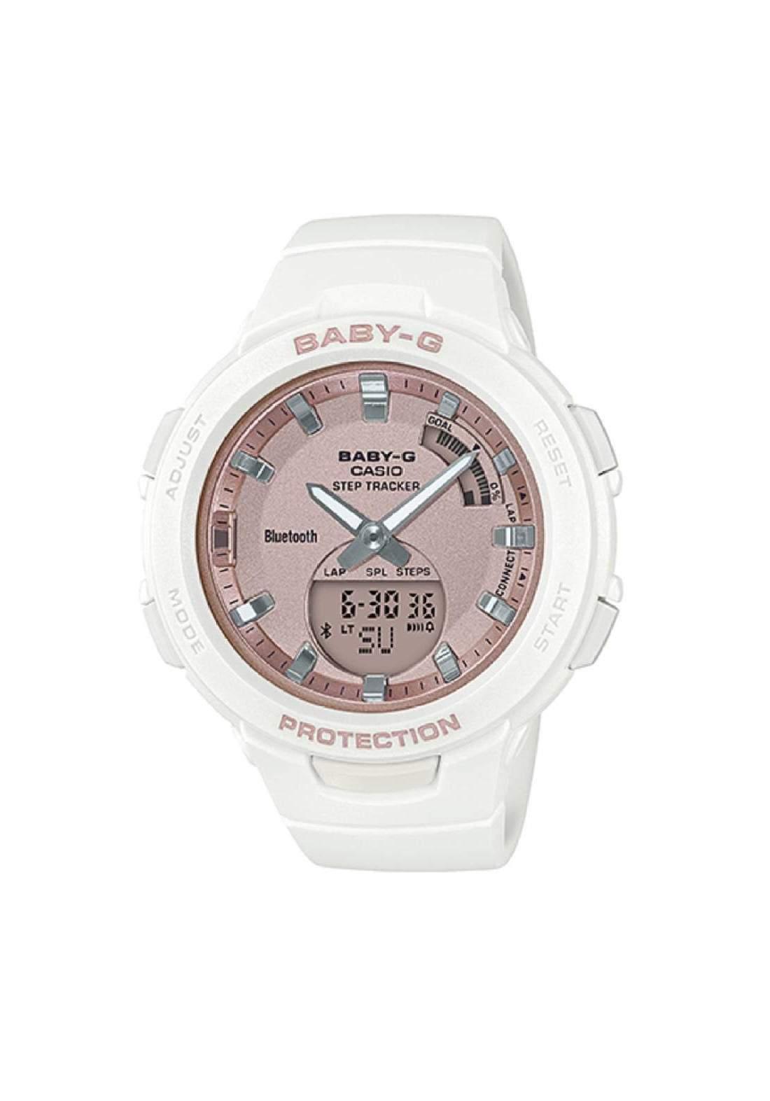 ساعة نسائية رياضية Casio BSA-B100MF-7ADR بيضاء اللون