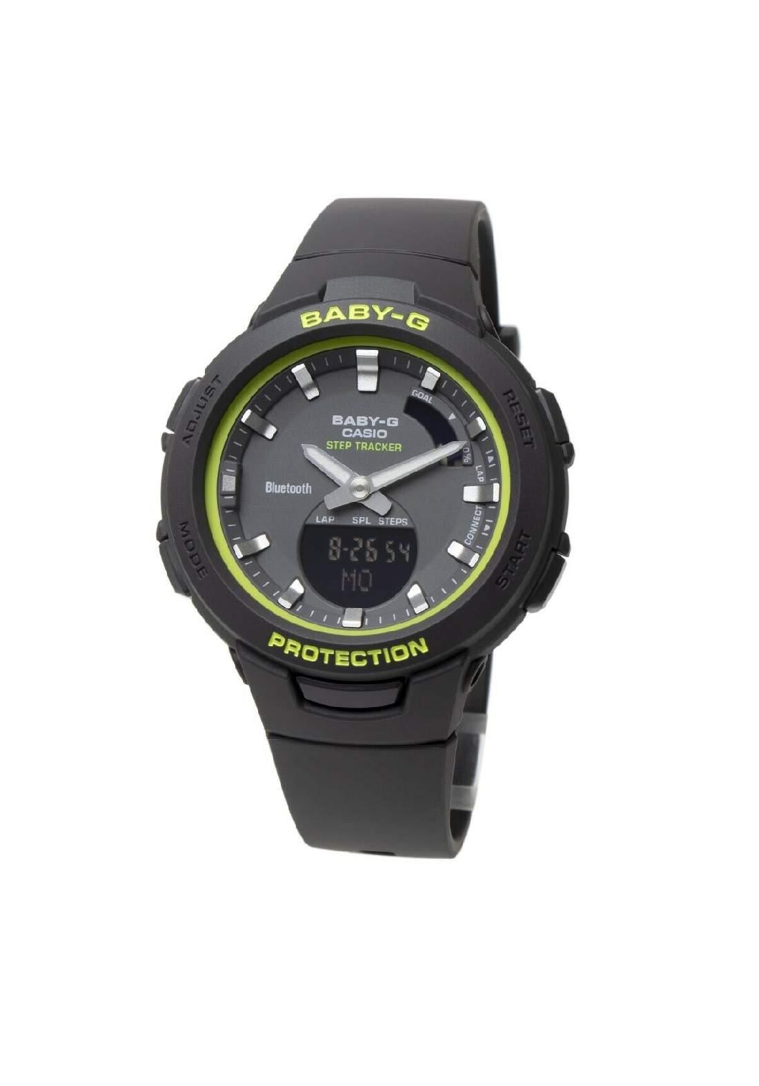 ساعة نسائية رياضية Casio BSA-B100SC-1ADR سوداء اللون