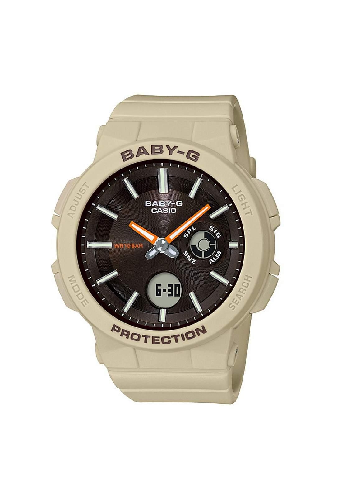 ساعة نسائية رياضية Casio BGA-255-5ADR بيج اللون