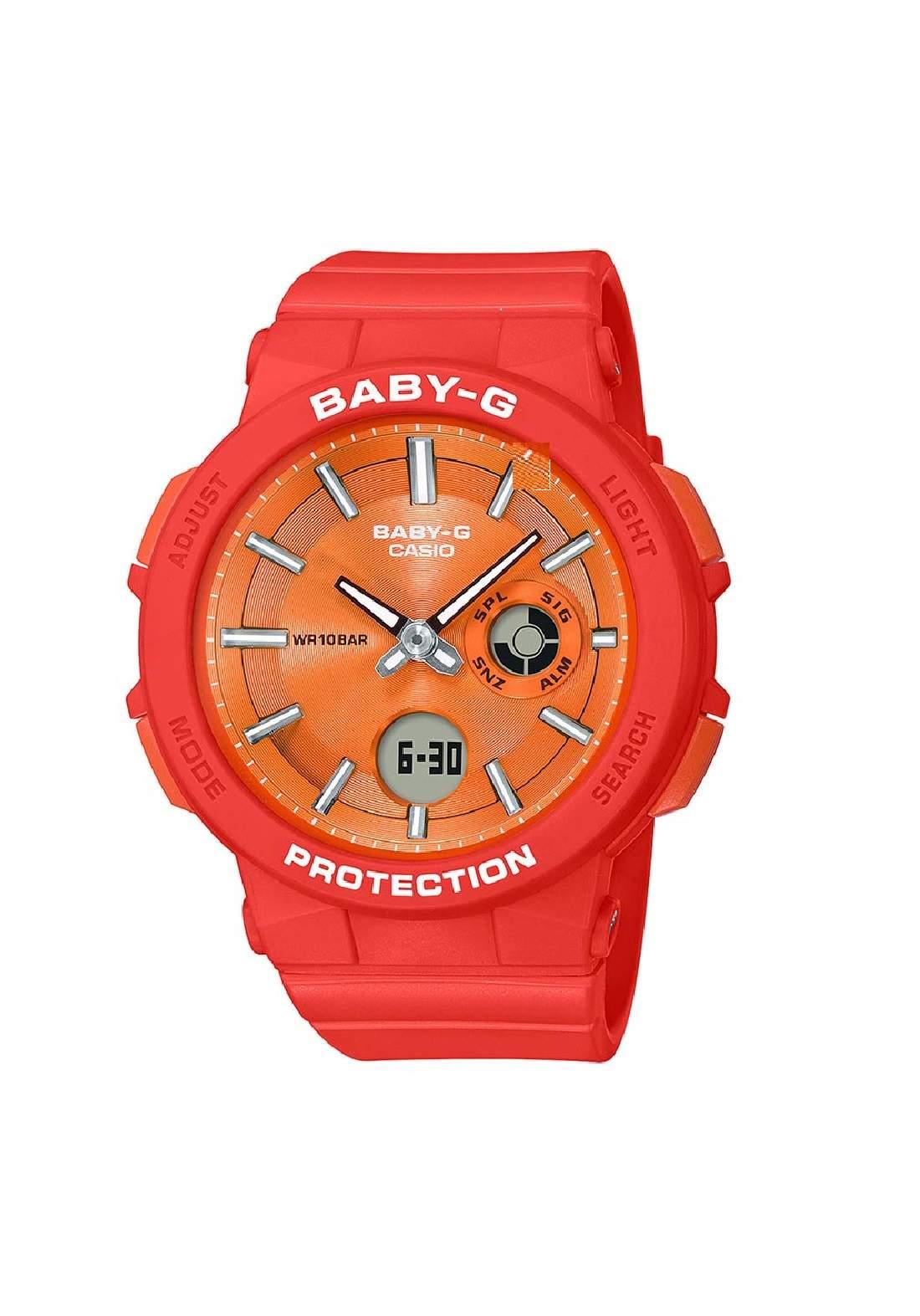 ساعة نسائية رياضية Casio BGA-255-4ADR برتقالية اللون