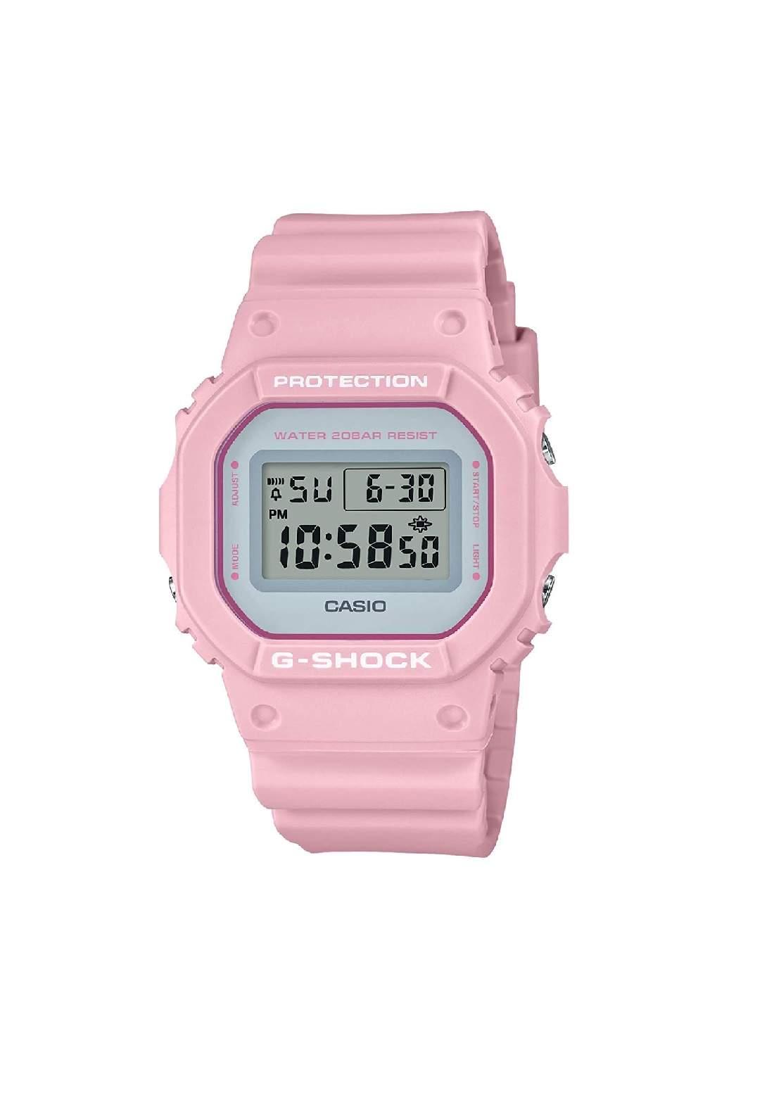 ساعة نسائية رياضية Casio DW-5600SC-4DR وردية اللون