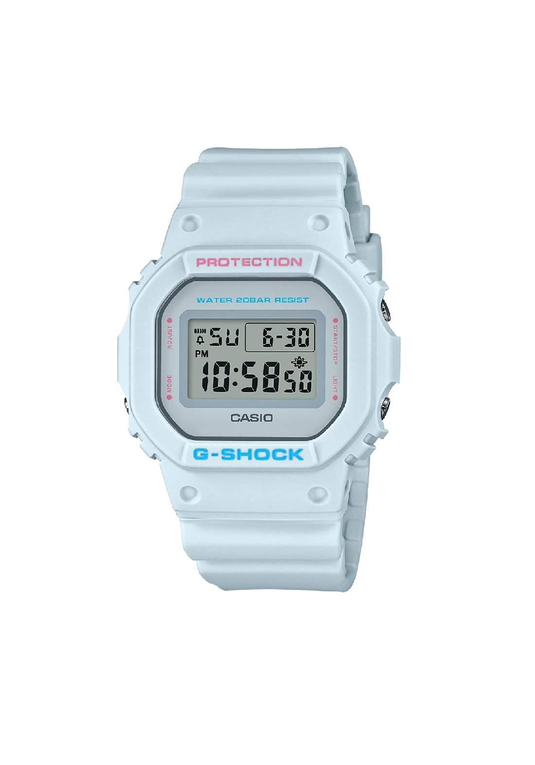 ساعة نسائية رياضية Casio DW-5600SC-8DR سمائية اللون