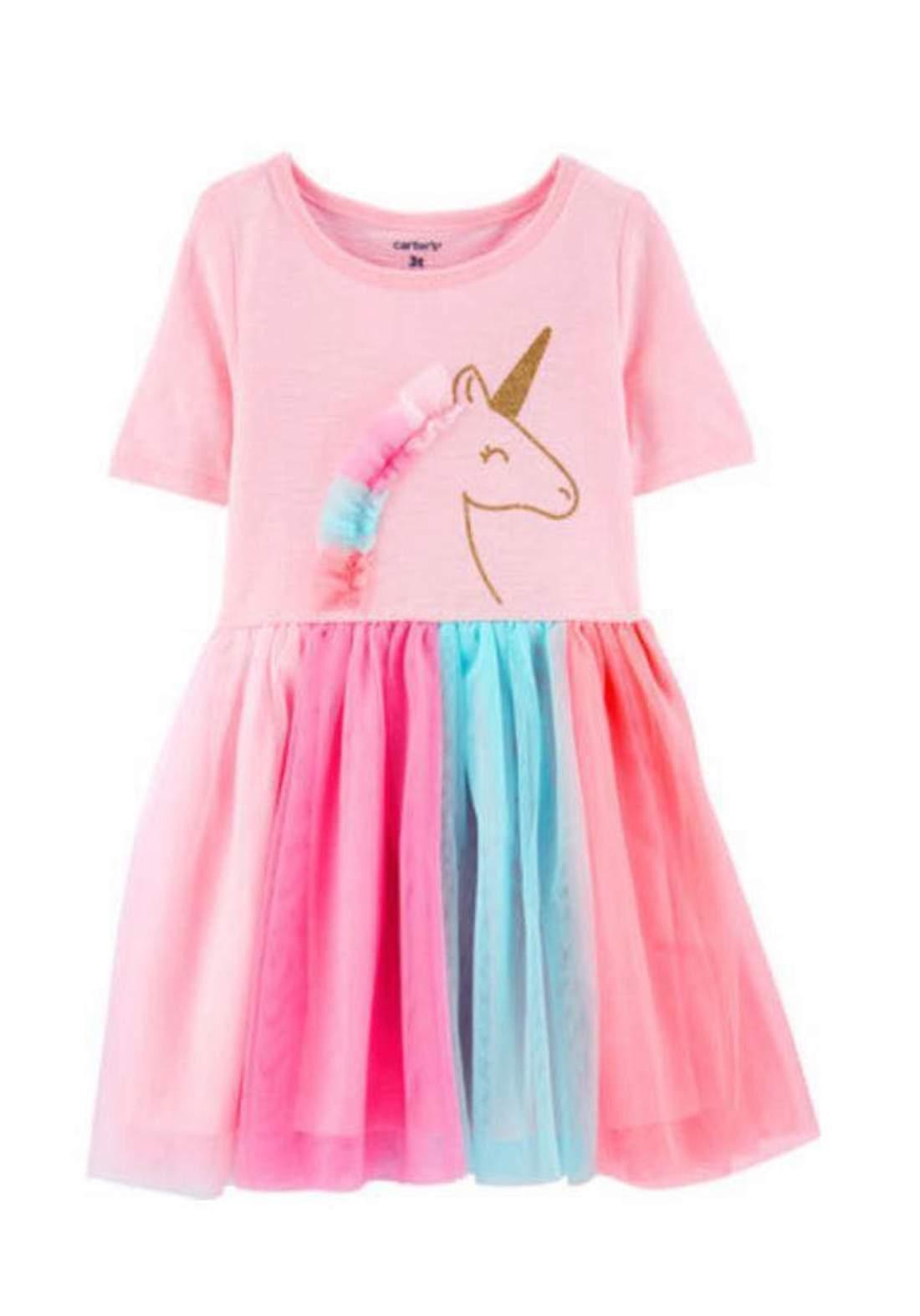 فستان بناتي وردي اللون من Carter's