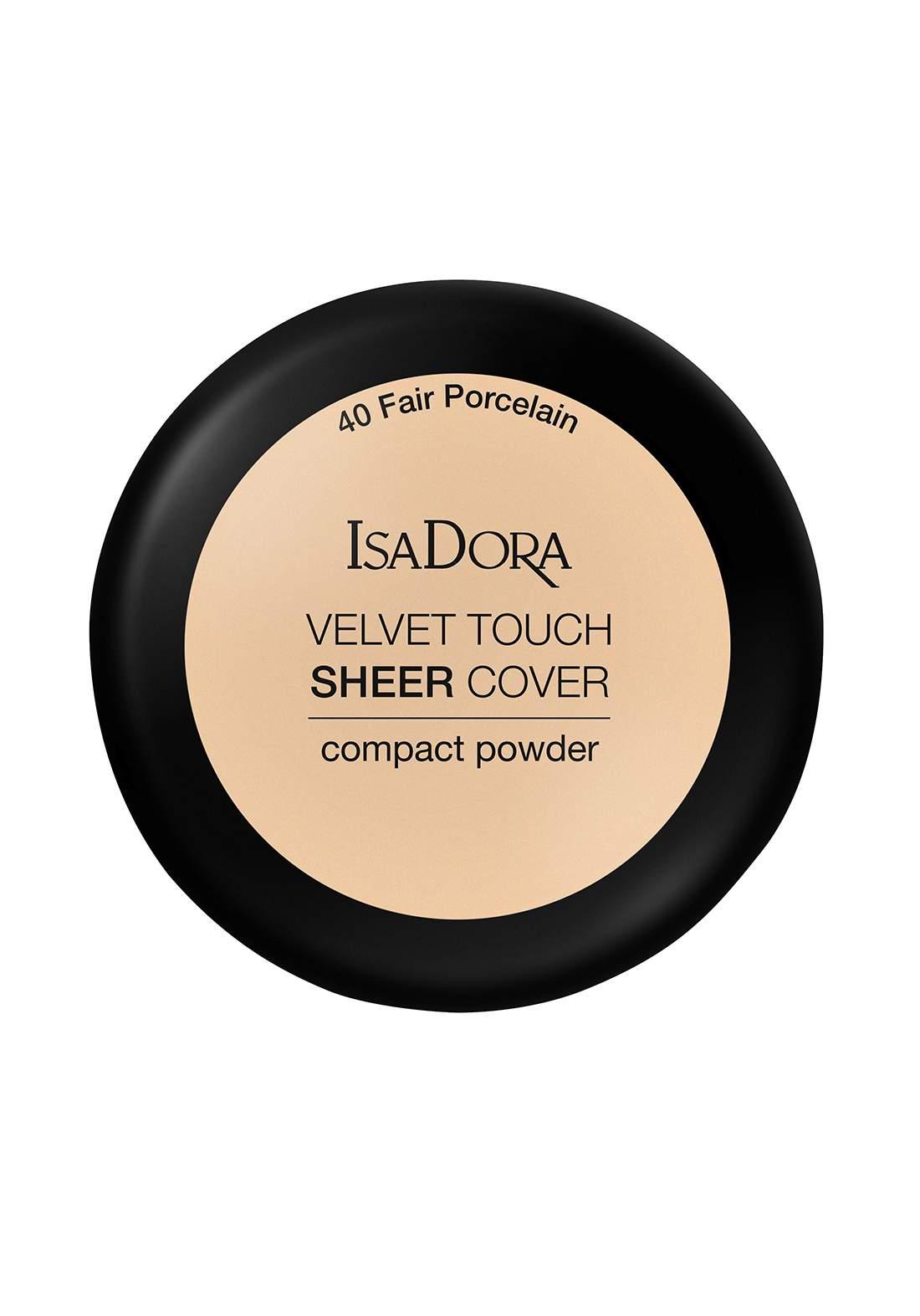 IsaDora 317107 Velvet Touch Sheer Cover Compact Powder Fair Porcelain NO.40 باودر