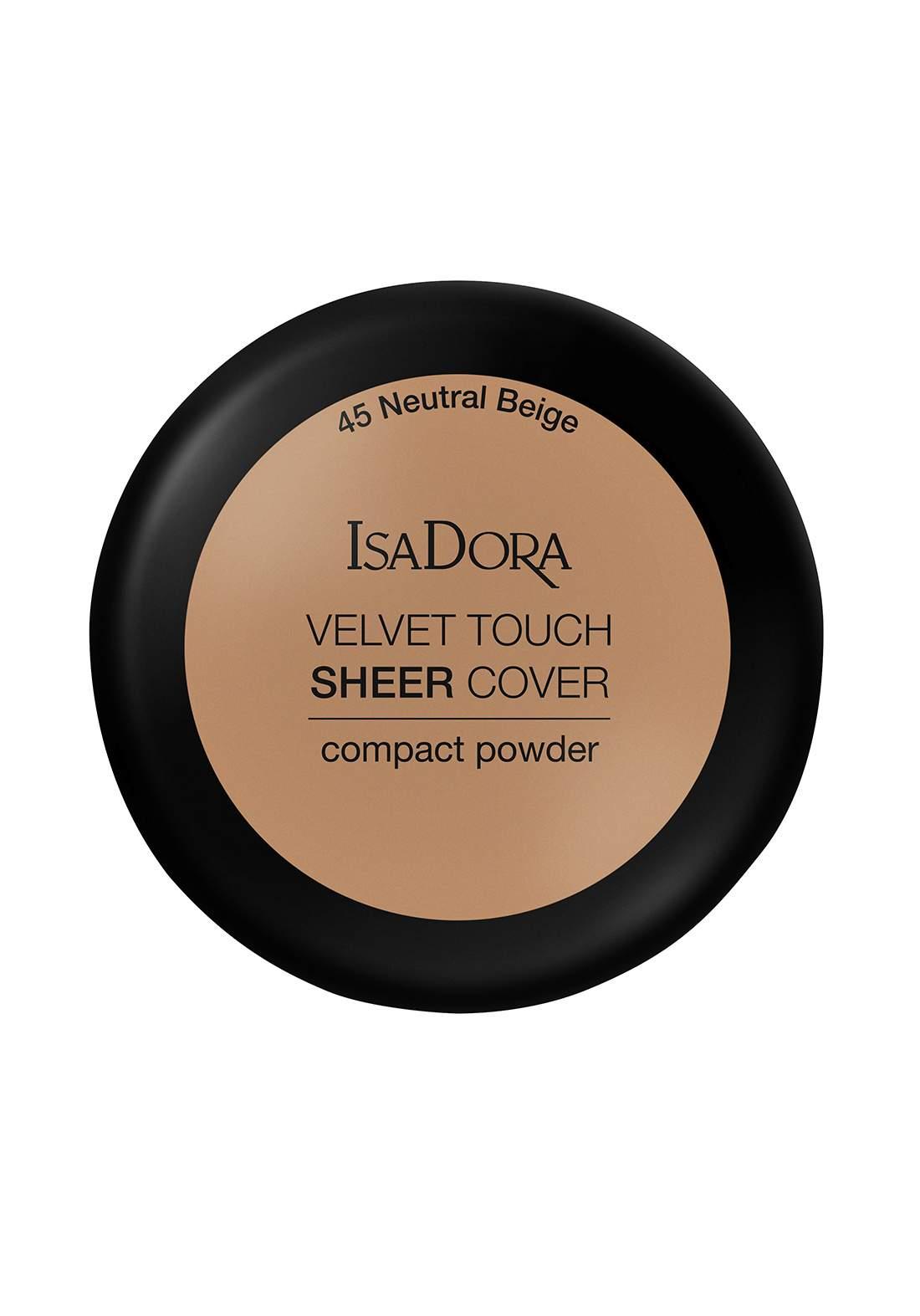 IsaDora 317109 Velvet Touch Sheer Cover Compact Powder Neutral Beige NO.45 بودرة