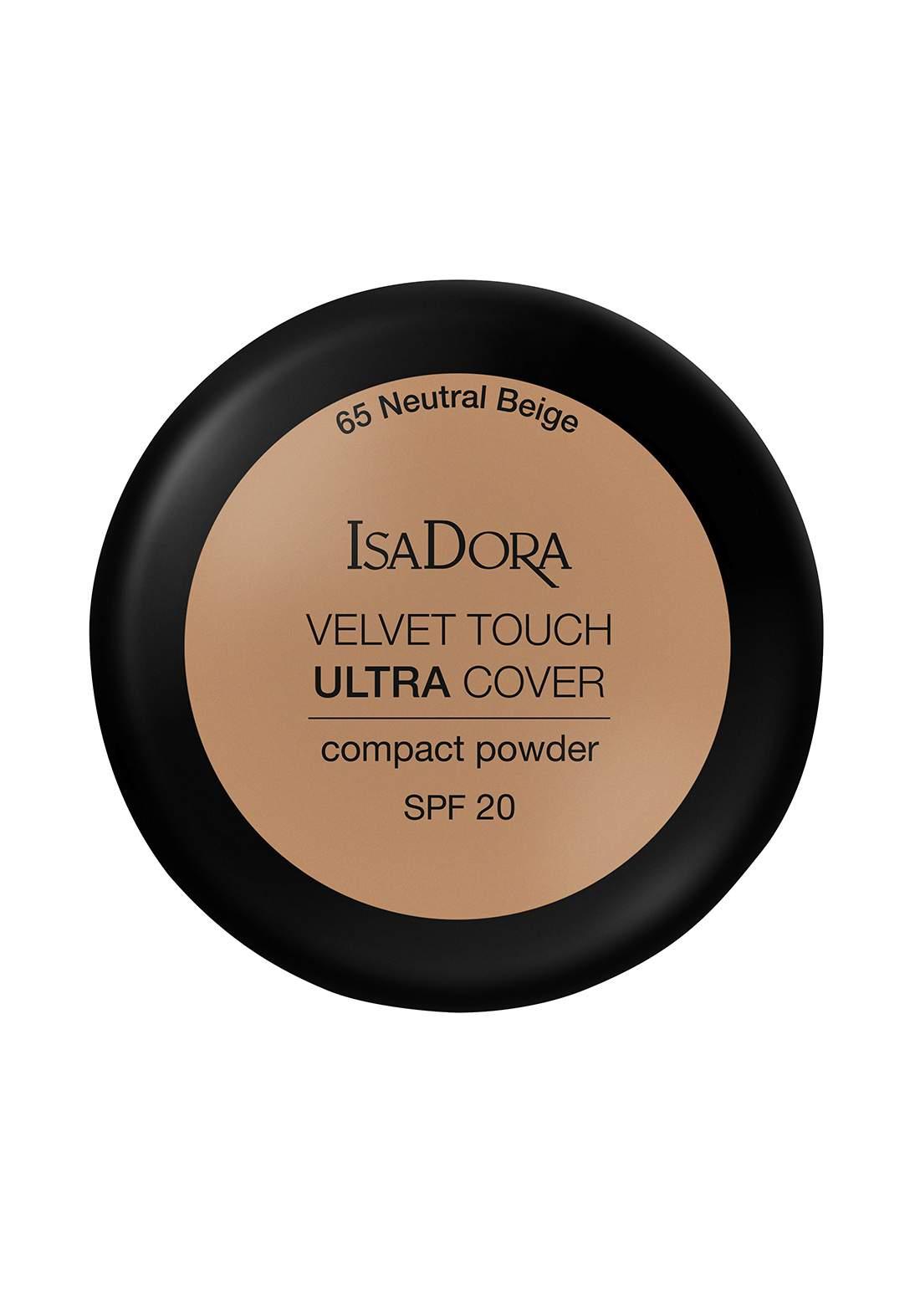IsaDora 317103 Velvet Touch Sheer Cover Compact Powder Neutral Beige SPF 20 NO.65 بودرة