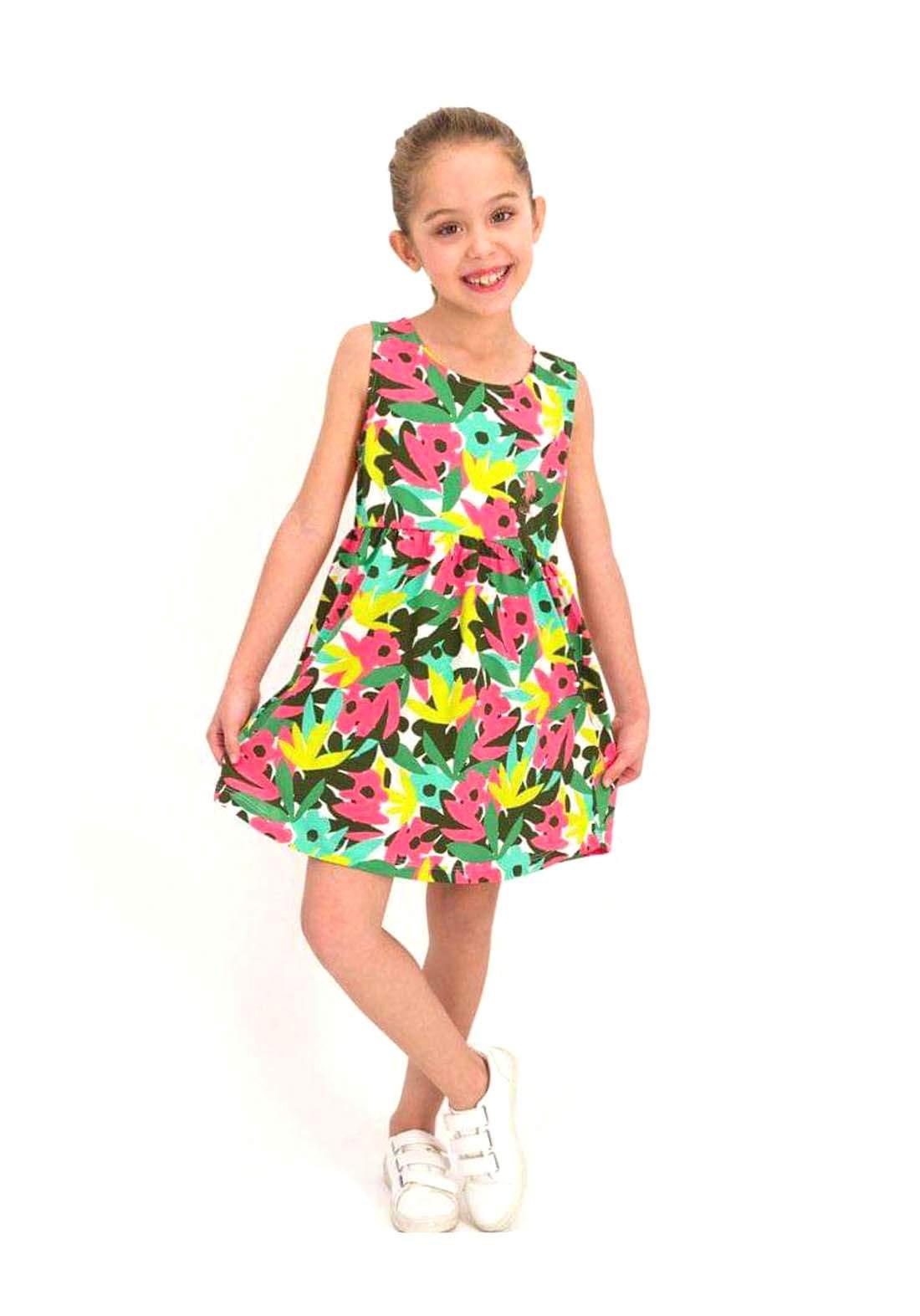 فستان بناتي اخضر ووردي