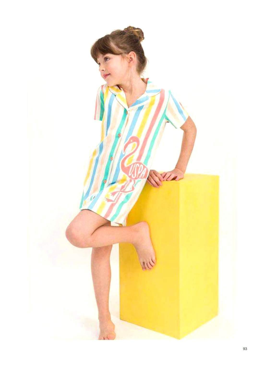 فستان بناتي ابيض واصفر اللون