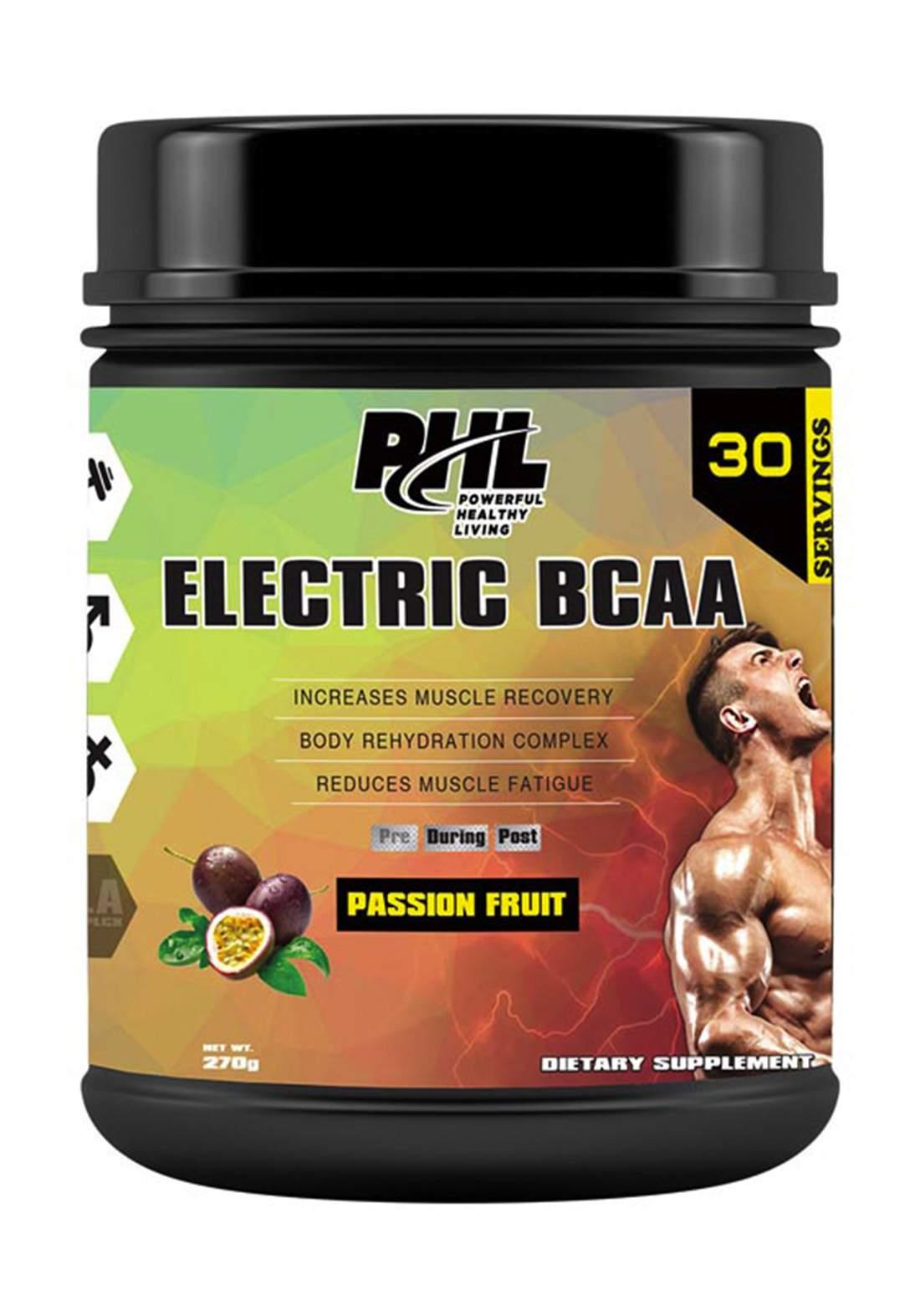 Phl electric Bcaa Powder Passion Fruit 30 Servings 270gm مكمل غذائي
